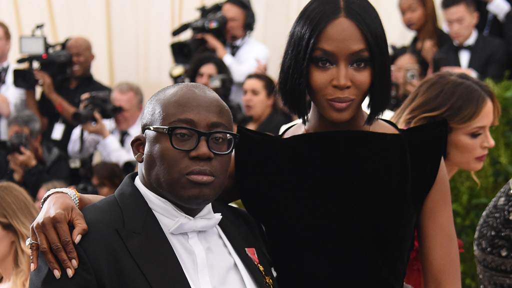 Incoming UK Vogue editor Edward Enninful with Naomi Campbell. Image: Getty