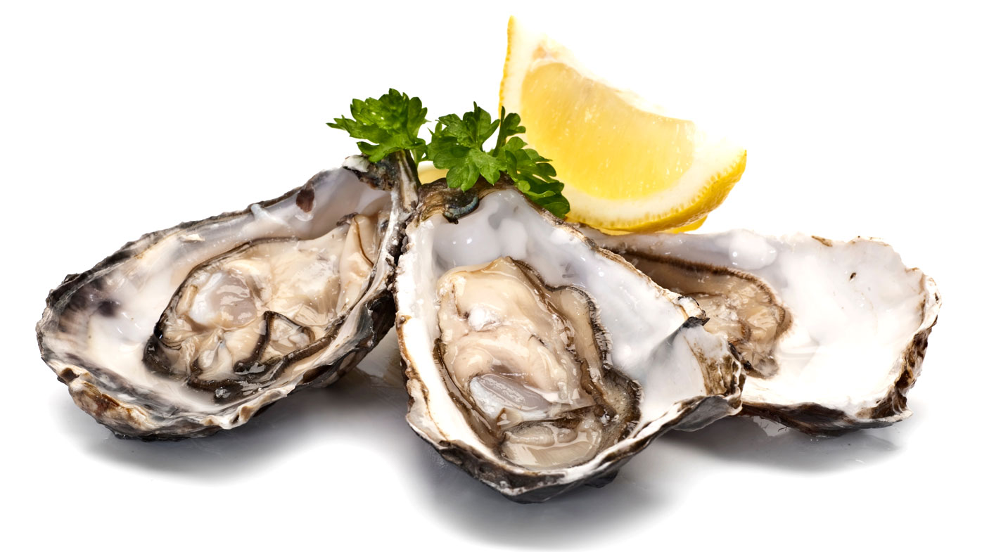Oysters: 16mg per 100g