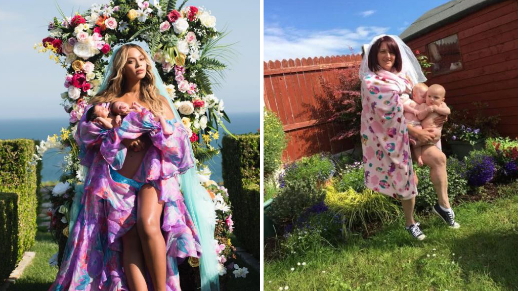 Floral tribute: Parents everywhere are recreating Beyoncé 's baby reveal with hilarious results. Image: Facebook
