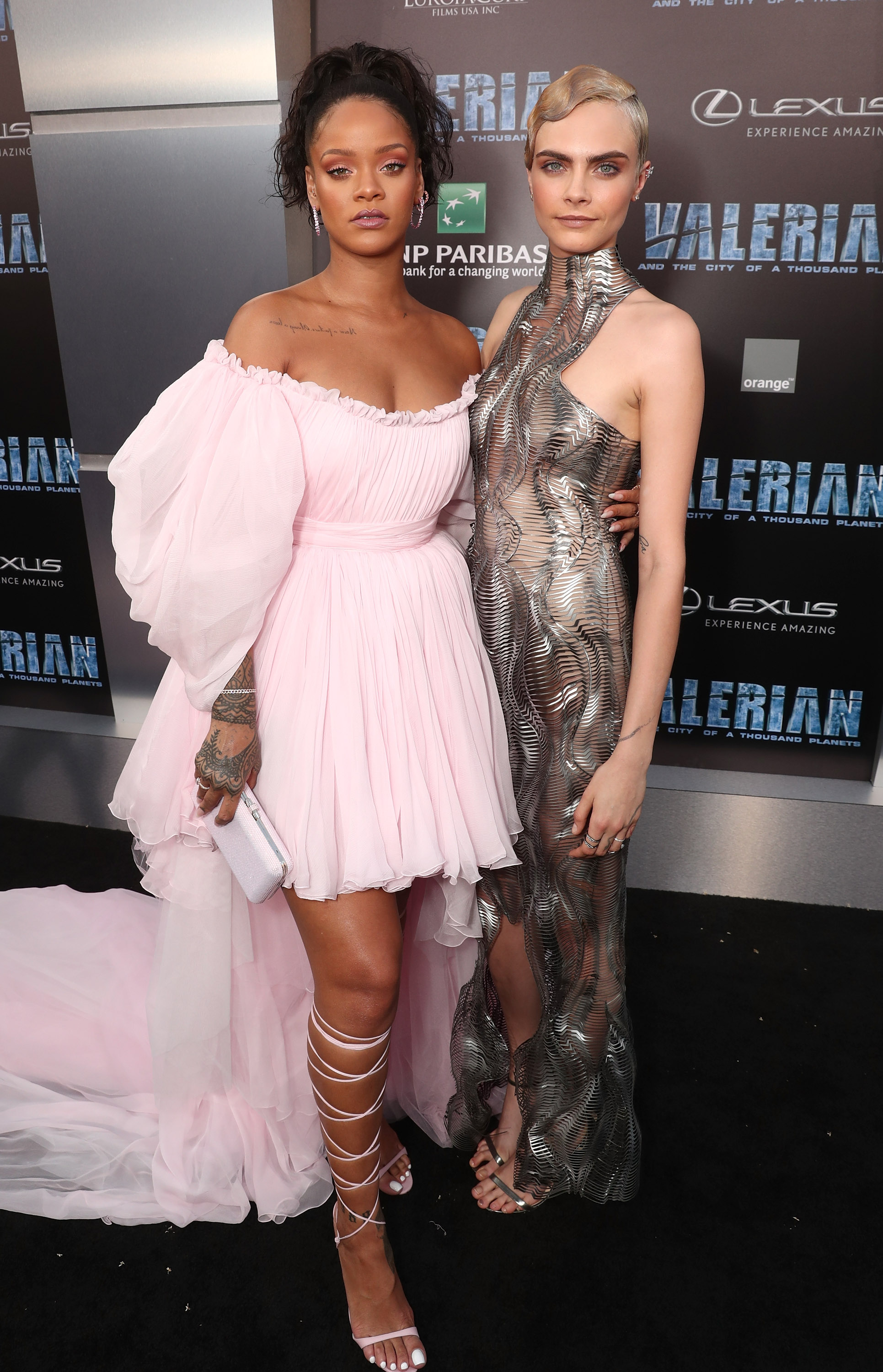 "<p>At the Los Angeles premiere of<em> Valerian and the City of a Thousand Planets</em> last night, the red carpet was turned into a <a href=""http://style.nine.com.au/haute-couture"" target=""_blank"" draggable=""false"">haute couture</a> catwalk by none other than the film's two stars-<a href=""https://style.nine.com.au/rihanna"" target=""_blank"" draggable=""false"">Rihanna </a>and <a href=""http://style.nine.com.au/cara-delevingne"" target=""_blank"" draggable=""false"">Cara Delevingne.</a></p> <p>Riri turned herself into a real-life princess in a custom-made pastel pink Giambattisa Valli gown that showed off her toned legs and lace-up Manolo Blahnik heels, completing the look with an array of dazzling Chopard jewels</p> <p>Cara went for a completely contrasting look in a silver Iris Van Herper couture high-neck gown which emulated the robotic, futuristic and outer space theme of the sci-fi flick.</p> <p>The model-turned-actress softened the look of her sci-fi gown by styling her super short hair in retro flapper waves that added a touch of elegance.</p> <p>The pair were joined by a line-up of A-list friends such as Kendall Jenner, Poppy Delevingne and up-and-coming actress, Sasha Lane, who arrived on the arm of Moschino's creative director Jeremy Scott.</p> <p>Click through to see all the style highlights from the premiere of <em>Valerian and the City of a Thousand Planets.</em></p>"