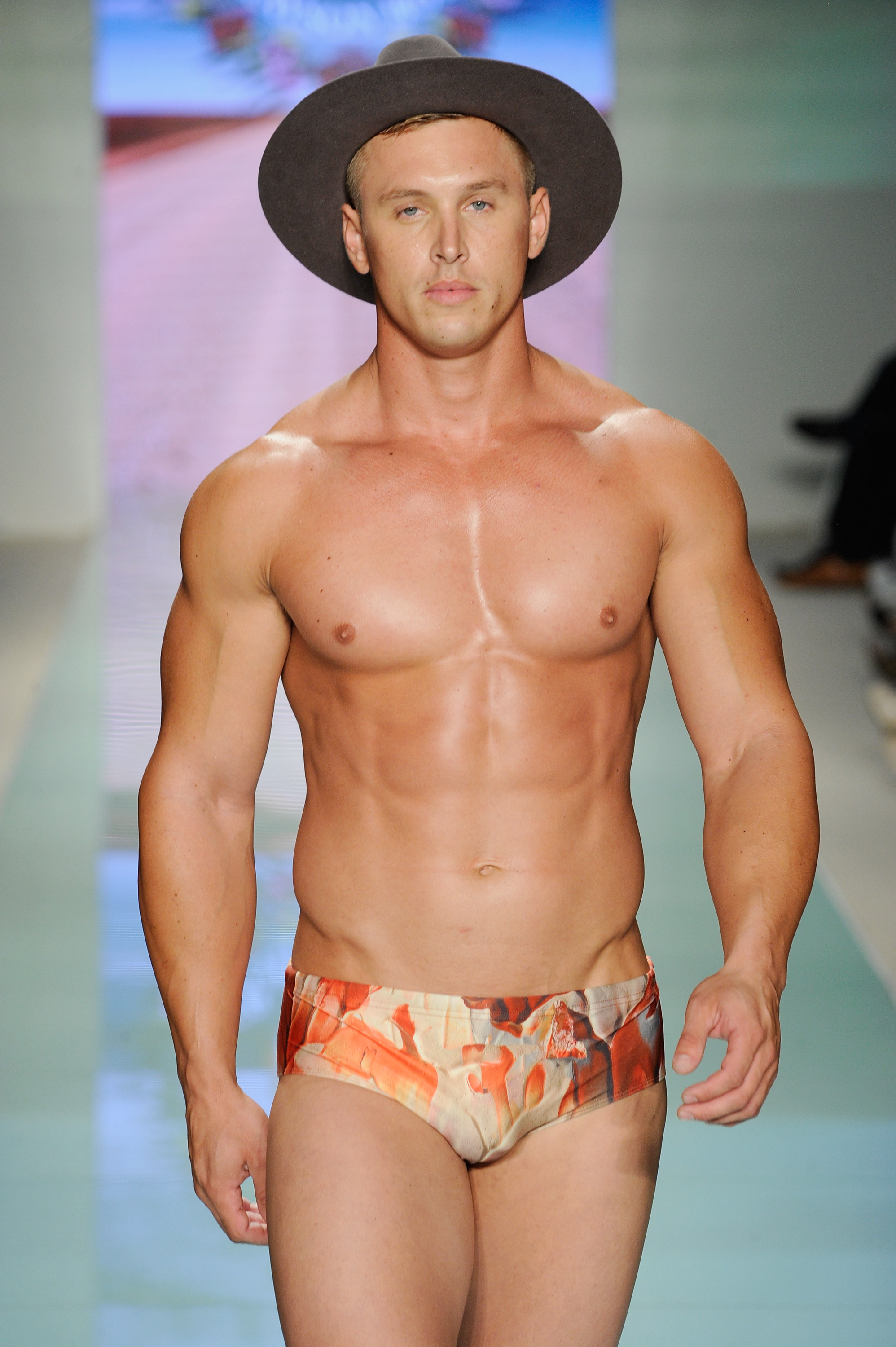 "<p>Male runway models have begun to resemble lanky, scowling schoolboys with smooth, sunken, chests and limbs like twigs but at Miami Swim Week 2017, emerging Australian label <a href=""https://graysonboyd.com/"" target=""_blank"" draggable=""false"">Grayson Boyd</a> has bucked the trend by sending out a barrage of buff boys.</p> <p> Pumped pectorals and tattoos were the order for the day at the US swimwear showcase, with the brand launched by model and talented choreographer Michael Boyd and former swimmer Sam Gray choosing hyper-masculine models to showcase shorts and budgie smugglers with cheeky prints of cockatoos and campfires.</p> <p> Making sure that US buyers picked up on the label's antipodean origins some of the models donned hats fit for the farm but the main accessory for the occasion was freshly pumped biceps and triceps.</p> <p> The collection, with speedo styles featuring a wider leg design, looks set to take on fellow Aussie players in the men's swim market Aussie Bum and Budgy Smuggler who have both relied on buff beefcakes as part of their marketing strategies. <br /> <br /> </p>"
