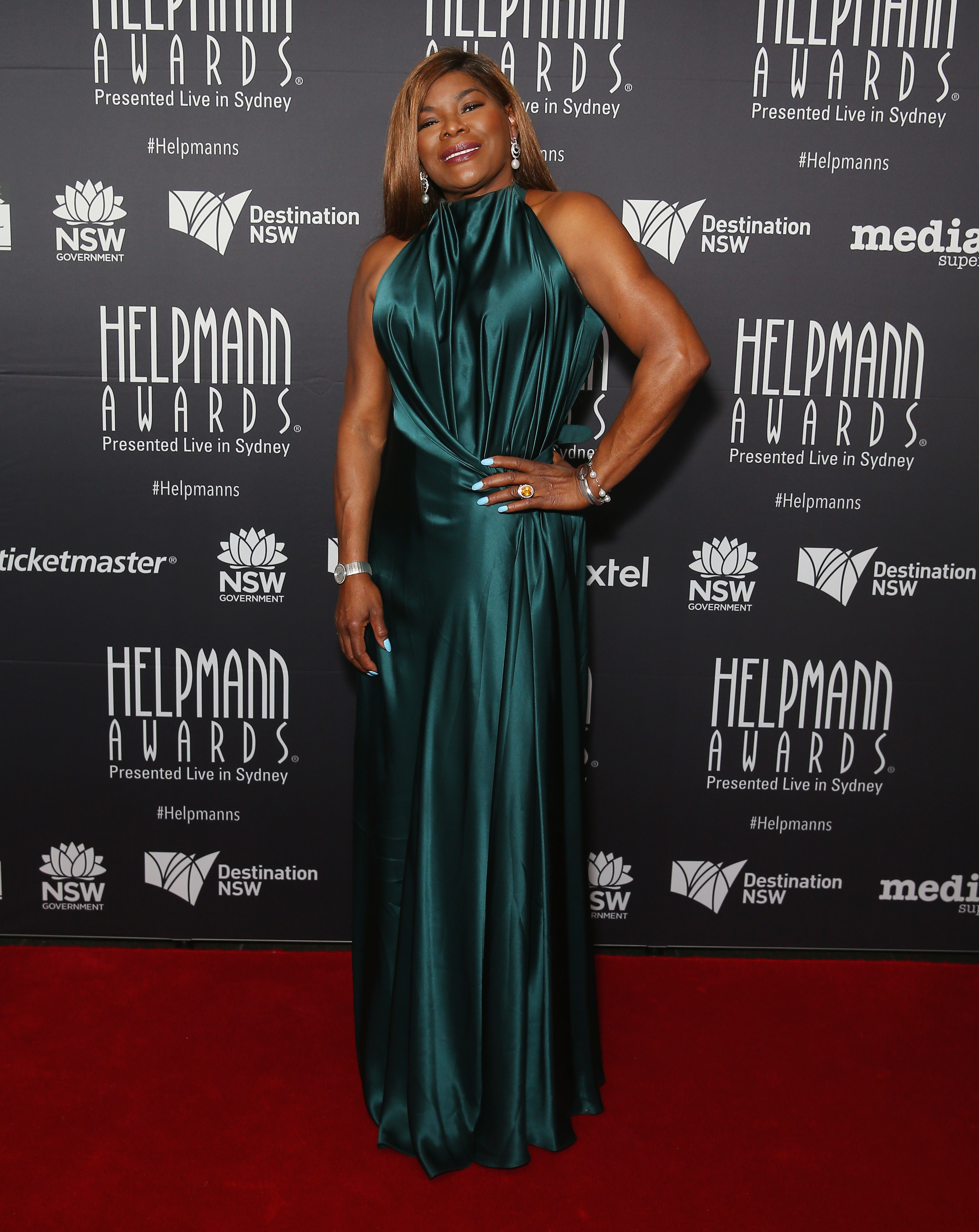 """<p>Marcia Hines has been shining on the Australian stage for decades and at last night's Helpmann Awards the performer dazzled on the red carpet in a classic emerald, halter-neck gown from leading local designer Bianca Spender.</p> <p>The event was held at Sydney's Capitol Theatre and while it lacks the gaudy glamour of the <a href=""""http://style.nine.com.au/2017/04/23/23/03/logies-2017-best-and-worst-dressed"""" target=""""_blank"""" draggable=""""false"""">Logie Awards</a>, presenter Deborah Hutton in Vera Wang, singer Dami Im in Carla Zampatti and leading man Tim Draxl all scored polished points on the red carpet.</p> <p><em>The Bodyguard</em> star Paulini dropped her guard and just served body in a fitted gown from bridal label Ziolkowski.</p> <p><em>Today Extra</em> host David Campbell in Calibre was joined on the red carpet by his producer wife Lisa in Carla Zampatti, who has been reinvigorating Sydney's theatre scene at the Hayes Theatre. Proud father Jimmy Barnes also descended on the red carpet in a matching jacket.</p> <p>Marcia missed out on an award at the event with <em>Kinky Boots</em> star Callum Francis winning best actor in a musical, <em>My Fair Lady</em>'s Anna O'Byrne awarded best actress in a musical and Belvoir Street Theatre's <em>The Drover's Wife</em> cleaning up the theatre awards.</p> <p>See the stars take their style bows here.</p>"""