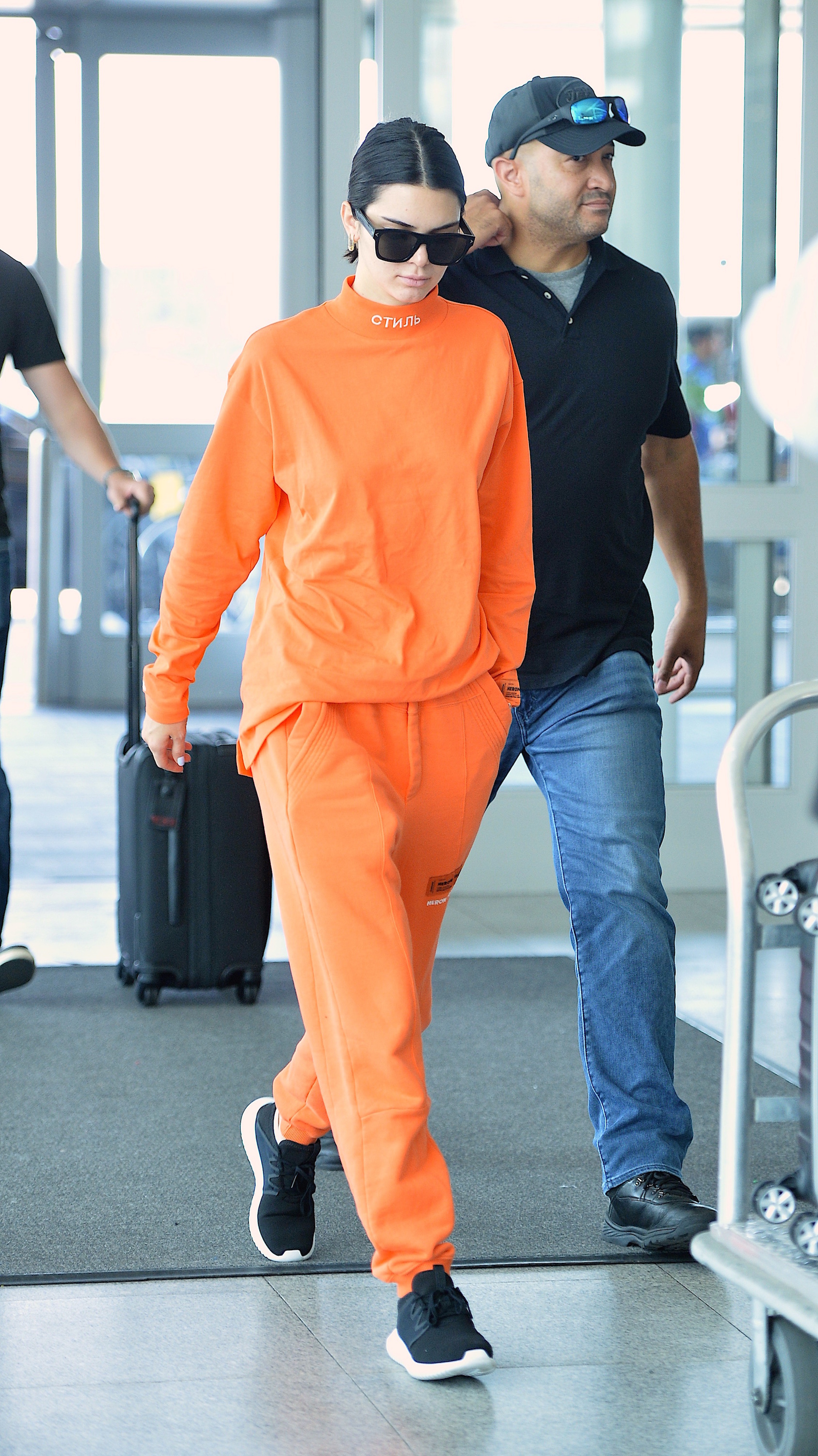 Miss-Kendall Jenner in Heron Preston<br /> <br /> Memo to Kendall: Orange is not the new black. Normally the supermodel stops traffic in a good way but this amber alert has us feeling uncertain.