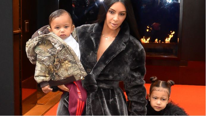 Kimmy K baby Saint and big sister North. Image Getty
