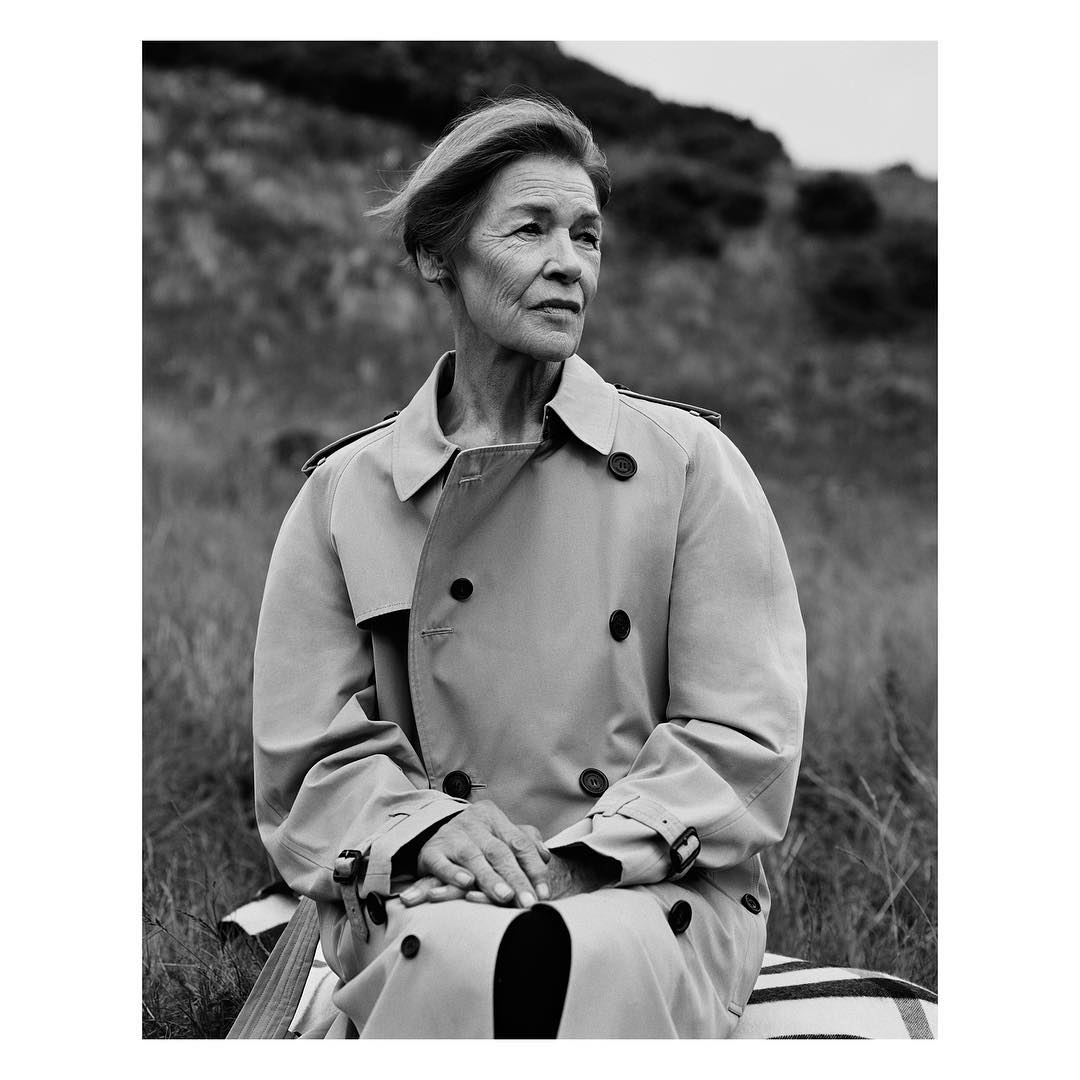 """<p>The lined face of Oscar-winner Glenda Jackson in the latest images from British luxury label Burberry is another example of fashion finally accepting the beauty of ageing.</p> <p>The 81-year-old star of <em>Women In Love, Sunday Bloody Sunday and Mary, Queen of Scots</em> stars in an upcoming exhibition from Burberry to celebrate their next collection from September 18 in London.</p> <p>The stark image by photographer Alasdair McLellan features Jackson in a windswept field wearing a signature Burberry trench.</p> <p>""""The images provide a portrait of British life, in all its nuances, both exceptional and mundane, beautiful and harsh. It's the spirit of those photographs – sometimes ironic, sometimes tender, always truthful – that has guided our September collection. Together they will form an exhibition in our new show space, celebrating a very British way of life and way of dressing,"""" says Burberry's creative director Christopher Bailey.</p> <p>For her return to the stage last year in a West End run of King Lear, Jackson shared her unorthodox beauty regime.Along with swimming and walking the 80-year-old allows for some indulgences.</p> <p>""""Since doing Lear I'm down to under 10 a day, except for my indulgence day – which was Sunday, when I allowed myself a couple more.""""</p> <p>See the other woman joining Jackson in challenging the standards of beauty.</p>"""