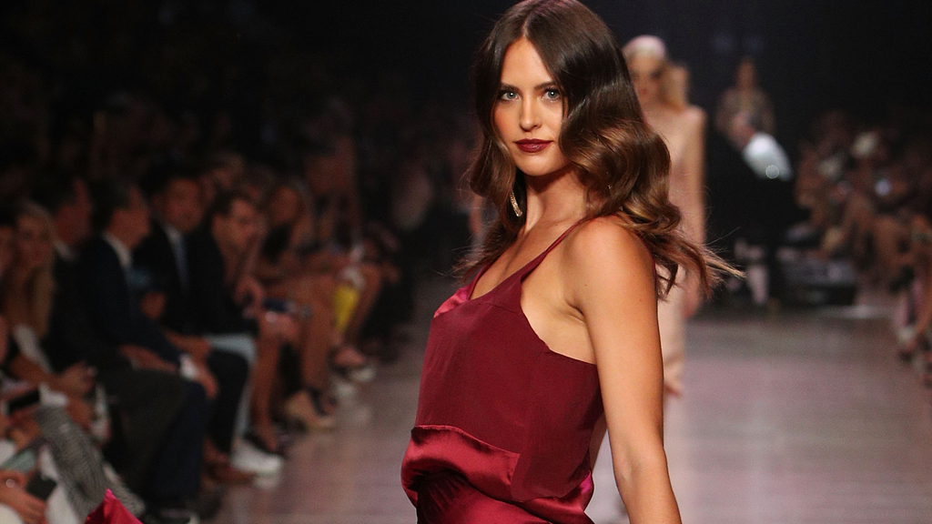 Jesinta Franklin on the runway at VAMFF. Image: Getty