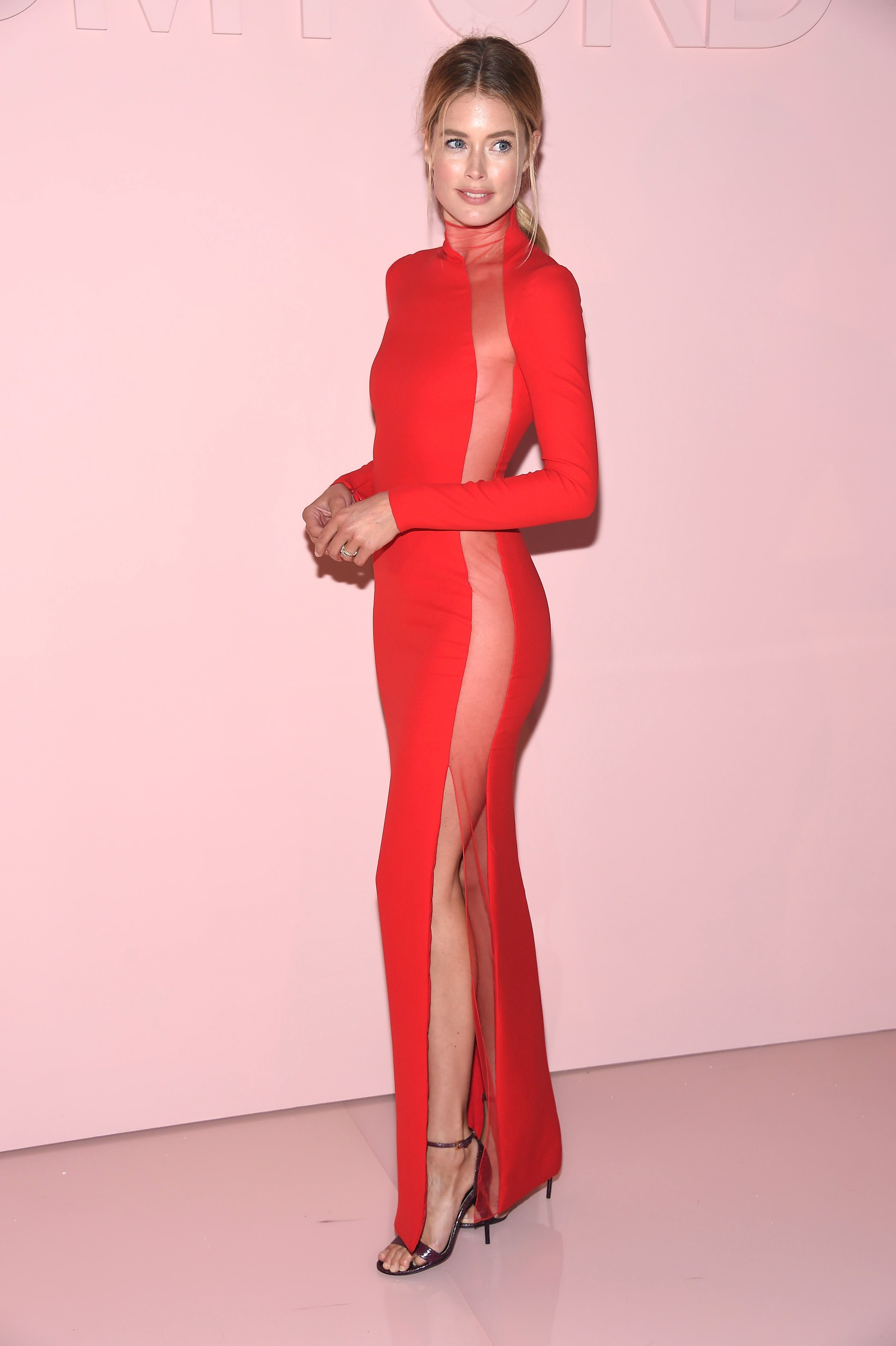 "<p>Competition to see who can wear the highest slit dress has been raging on the red carpet since <a href=""http://style.nine.com.au/2017/07/04/10/59/lip-filler-for-a-perfect-mouth-no-trout-pout-how-to-get-it-right-kylie-jenner"" target=""_blank"">Angelina Jolie</a> stepped out at the 2012 Oscars in a black Atelier Versace gown with a show of thigh that received its own Twitter account but we now have a winner.</p> <p>At the after party for Tom Ford's show, celebrating his limited edition fragrance F**king Fabulous, Dutch <a href=""http://style.nine.com.au/2016/12/01/07/46/victorias-secret-2016-paris-gigi-bella-adriana-kendall"" target=""_blank"">Victoria's Secret</a> supermodel Doutzen Kroes wore a fitted red gown with the illusion of a slit from toe to top thanks to some serious craftsmanship and a sheer panel.</p> <p>""When it fits like a glove... @tomford,"" the 32-year-old posted to her Instagram account.</p> <p>Kroes received stiff competition from US model Karlie Kloss who will return to the Victoria's Secret runway in November, with Taylor Swift's squad member wearing a relatively conservative black slit dress with a choker, giving off Tom Ford at Gucci vibes.</p> <p>The only Australian to make an impact was former Miss World Australia (2012) in a fitted blush Tom Ford dress (no slit).</p> <p>""Thank you for having me at your show @TomFord & dressing me in this beautiful and classic vintage dress. Goodnight NYC,"" Kahawaty posted.<br> <br> </p>"