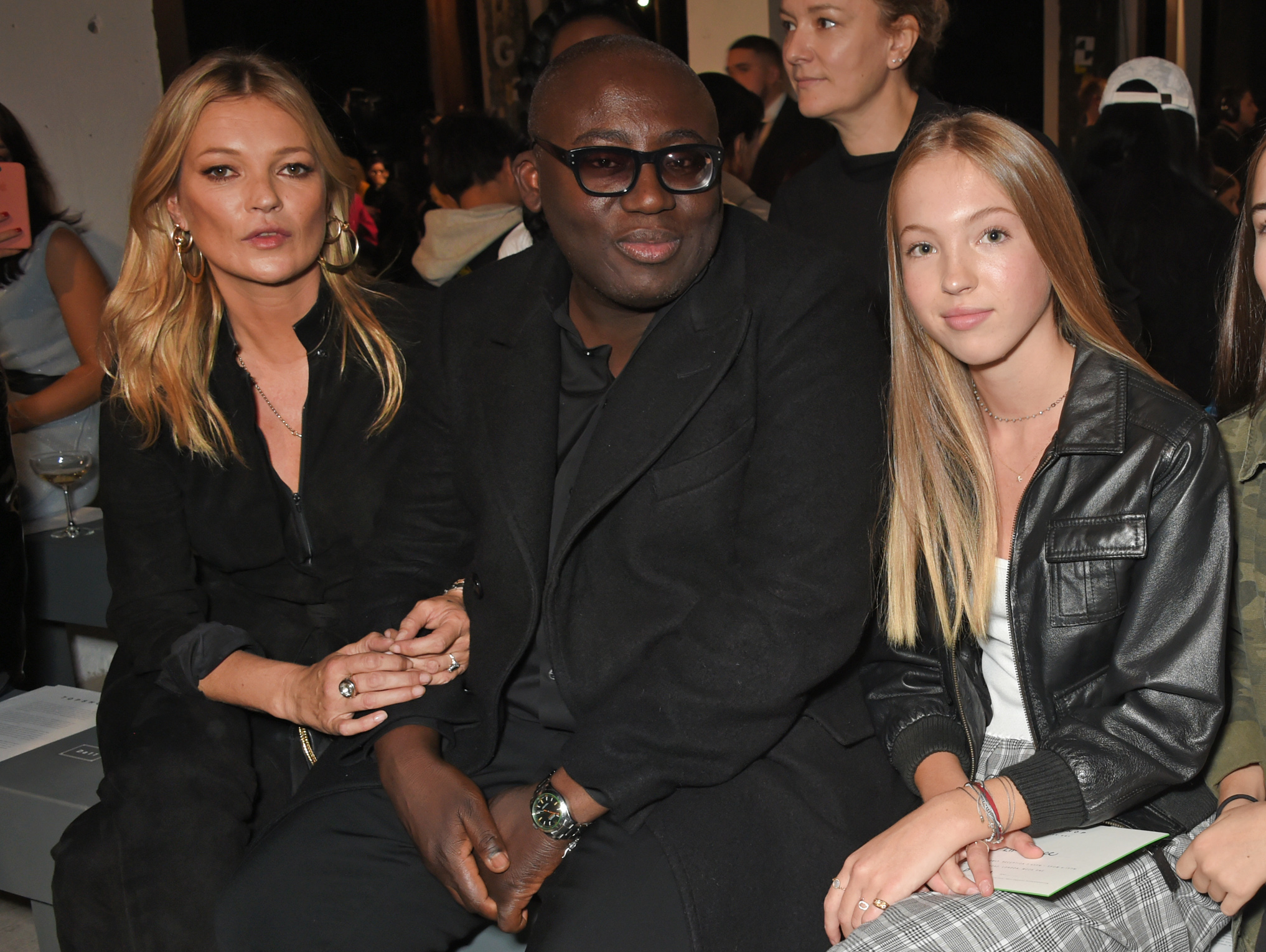 "<p>British retail giant Topshop's Spring/Summer '18 show was a family affair for supermodel Kate Moss who was joined in the front row by 16-year-old daughter Lila Grace. </p> <p>Moss's only child marked her first-ever fashion week appearance with a seat next to new <em>British Vogue</em> editor-in-chief Edward Enniful and complemented her famous mum's all-black ensemble in  a  leather jacket and checked pants.</p> <p>Models-of-the-moments Hailey Baldwin, Jourdan Dunn and Joan Smalls strutted their stuff in bold,  prints, leather skirts, flowing gowns, furry jackets and over-sized jackets.<br style=""box-sizing: border-box; color: #333333; font-family: HurmeGeometricSans, Helvetica, Arial, sans-serif; font-size: 16px; word-spacing: -0.96px; background-color: rgba(255, 255, 255, 0.8);"" />  <br style=""box-sizing: border-box; color: #333333; font-family: HurmeGeometricSans, Helvetica, Arial, sans-serif; font-size: 16px; word-spacing: -0.96px; background-color: rgba(255, 255, 255, 0.8);"" /> Moss is a regular in the front-row of Topshop, having worked with the British high-street brand for over 10 years with her highly-coveted Kate Moss X Topshop collaborations. </p> <p>Sartorial sweetheart Olivia Palermo, Topshop chairman Sir Philip Green and model Arizona Muse were some of the other A-list faces that joined the British supermodel and her offspring in the front row.</p> <p>Click through to see the highlights of Topshop's star-studded S/S'18 show.</p>"