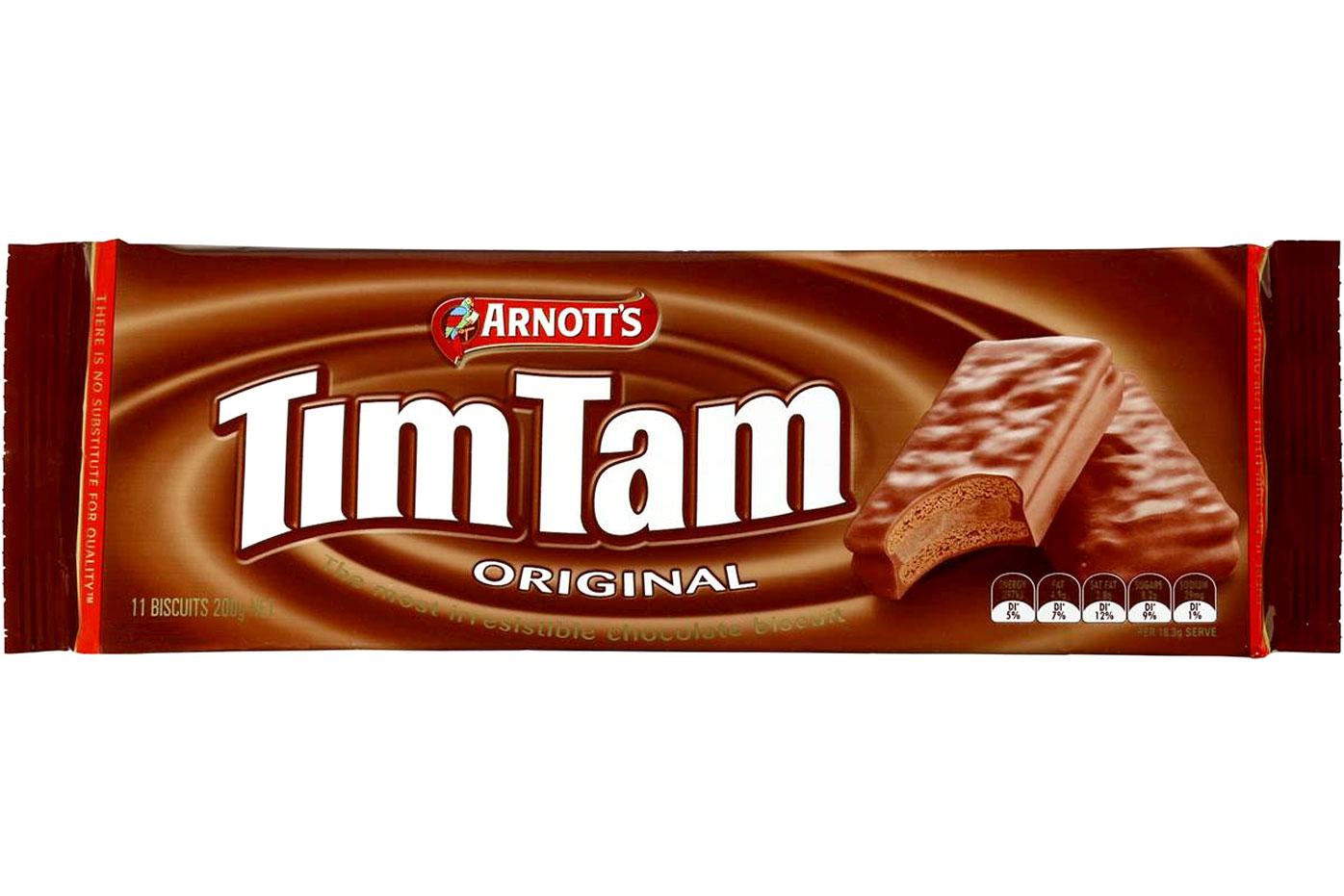 Tim Tam — 8.2g sugar per biscuit