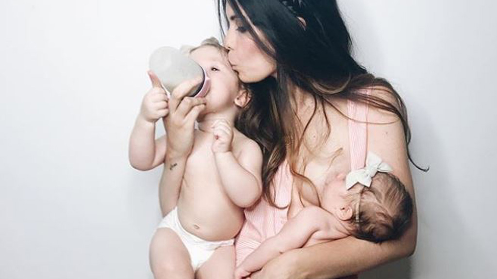 Milk made: Maya Vorderstrasse wanted to breastfeed as long as she could - but her milk dried up. Image: Instagram