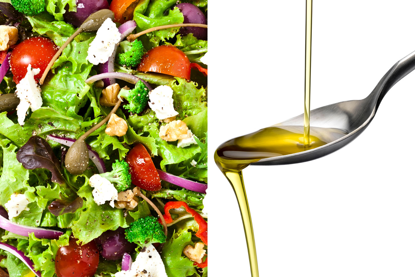 Salad vegetables with oil
