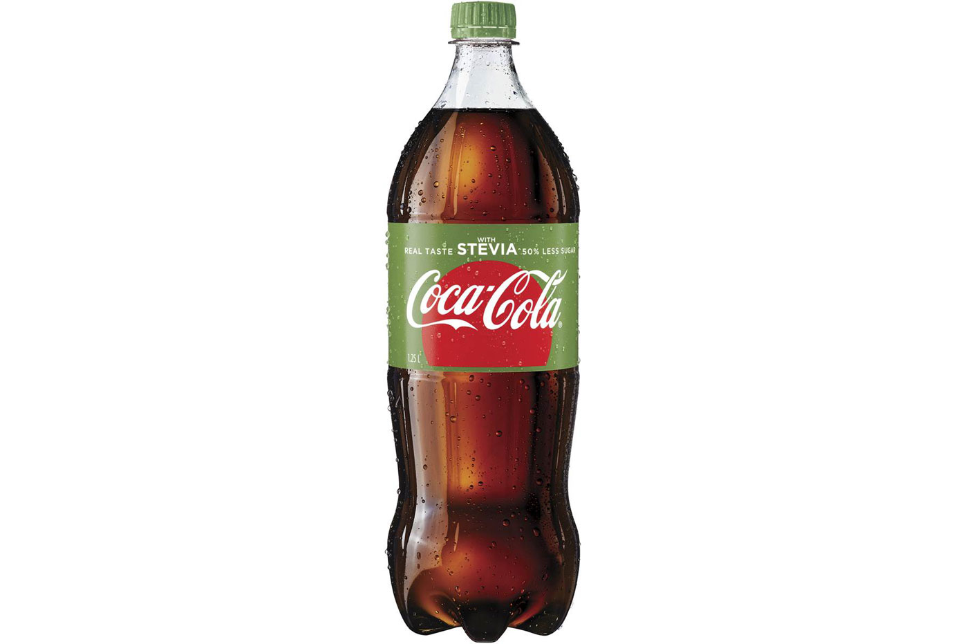 Coca-Cola with Stevia: 5g sugar per 100ml