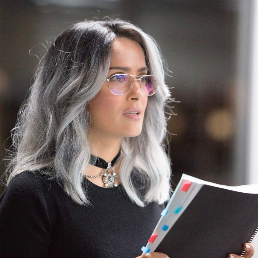 """Leave it to Salma Hayek to prove that salt-and-pepper hair is the new black.<br /> <br /> The <em>Frida</em> actress has swapped signature long, dark locks for a sleek, silver head of hair, which she debuted via <a href=""""https://www.instagram.com/salmahayek/"""" target=""""_blank"""">Instagram.</a><br /> <br /> """"Meet Eva Torres, my new character in the film I just finished, The Hummingbird Project,"""" she captioned the post.<br /> <br /> Hayek's new hair hue is most likely a wig, considering that she has stepped out multiple times this year with different types of hairpiece. But <a href=""""https://style.nine.com.au/2017/08/17/12/48/style_salma-hayek-washing-face-twice-a-day"""" target=""""_blank"""">embracing natural grey hair</a> isn't something the Academy Award-nominee is afraid of.<br /> <br /> """"I don't dye my hair is because I don't have the patience to sit through it,"""" Hayek told <em><a href=""""https://www.nytimes.com/2017/08/14/fashion/salma-hayek-beauty-regimen.html"""" target=""""_blank"""">The New York Times </a></em>in August.<br /> <br /> """"I don't want to spend what's left of my youth pretending I'm younger and then not enjoying life.""""<br /> <br /> The 50-year-old has been at the forefront of the news cycle this week, having penned a candid and passionate essay for <em><a href=""""https://www.nytimes.com/interactive/2017/12/13/opinion/contributors/salma-hayek-harvey-weinstein.html"""" target=""""_blank"""">The New York Times</a></em>, where she revealed she had been the <a href=""""https://thefix.nine.com.au/2017/12/14/09/56/salma-hayek-harassment-harvey-weinstein-frida"""" target=""""_blank"""">victim of disgraced Hollywood producer Harvey Weinstein's abuse.</a><br /> <br /> """"I hope that adding my voice to the chorus of those who are finally speaking out will shed light on why it is so difficult, and why so many of us have waited so long.""""<br /> <br /> Click through to see more A-list hair transformations.<br />"""