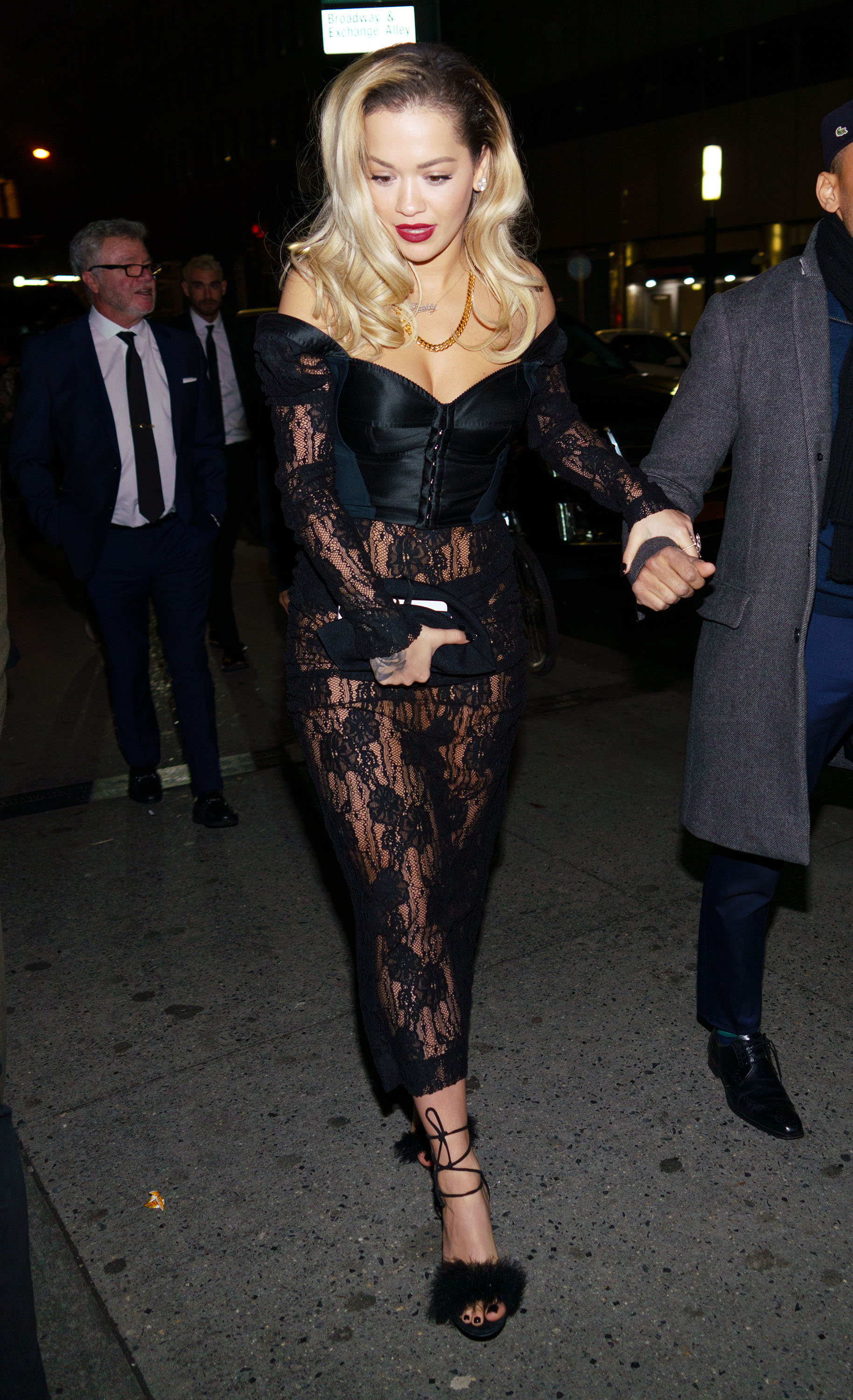 """<p>Rita Ora oozed old-Hollywood glamour at <a href=""""https://style.nine.com.au/2018/01/29/08/20/2018-grammy-awards-red-carpet"""" target=""""_blank"""">this year's Grammy Awards</a>, ruling the red carpet in a chic black gown by Australian label Ralph & Russo.</p> <p>The<em> Your Song </em>singer continued her sartorial hot-streak for an appearance at Universal Music's official GrammyAwards after party in New York City.</p> <p>The 27-year-old opted for a daring black lace ensemble and leather beret that left little to the imagination.<br /> With the curtain closed on the 60th Grammy Awards, Ora wasn't the only A-lister who made a splash with their post-awards attire.</p> <p> Rihanna, Olivia Wilde and Australian model Shanina Shaik also kept the designer outfits and wow factor flowing well into the night.</p> <p>Click through to see all the highlights from the after parties of the 60th Grammy Awards.</p>"""