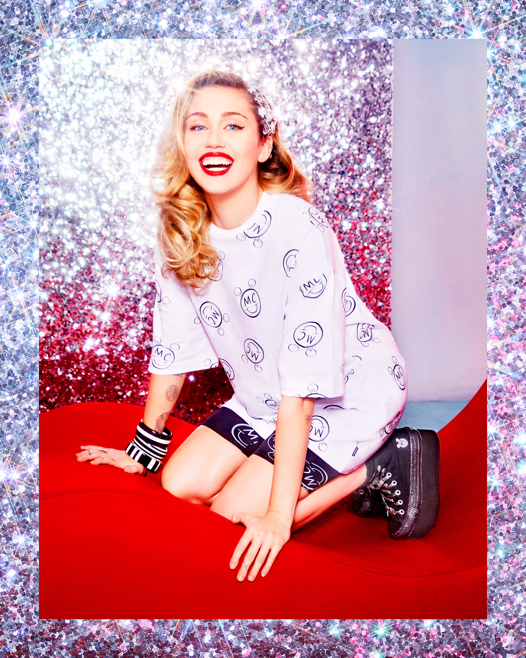 """Miley Cyrus has never been known for her sartorial restraint – and her latest project is no exception.<br /> <br /> The 'Malibu' singer unveiled her debut collection with sneaker giant Converse this week. And, as expected, the highly-anticipated 'Converse X Miley' range is a celebration of the former Disney star's eclectic style. (There isn't a sterile white sneaker in sight).<br /> <br /> Instead, sportswear aficionados will soon be filling their wardrobes with platform sneakers decorated with glitter, pastel leggings and cropped hoodies. The range aims to provide a fun and glitzy aesthetic that can take you from the gym to the karaoke bar.<br /> <br /> Owing to Cyrus's activism and passion for LGBT rights and diversity, the collection reflects a feeling of self-empowerment and is for both men and women.<br /> <br /> """"No age, no gender, no sex — I wanted everyone to feel included,"""" 25-year-old Cyrus said in an official statement.<br /> <br /> """"Converse has no boundaries. It's outspoken. I've always identified with Converse because the brand appeals to and represents so many different cultures and walks of life. And they're accessible.""""<br /> <br /> Shot by fashion favourite Ellen von Unwerth, the campaign is as lively as the singer's designs.<br /> <br /> """"I definitely had my fans in mind and in my heart when I was creating,"""" Cyrus continued in her statement.<br /> <br /> """"I put what they love about me and what I love about them into the design.""""<br /> <br /> Click through to shop some of HoneyStyle's favourite Converse x Miley pieces.<br /> <br />"""