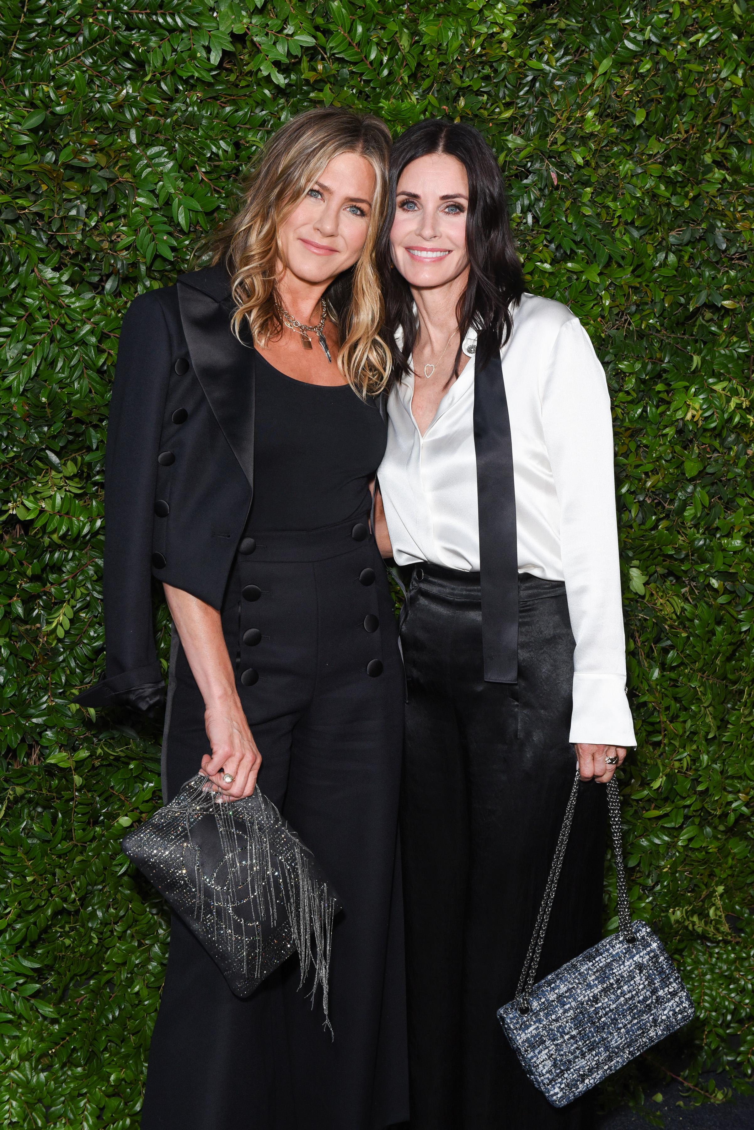 """<p>BFF's <a href=""""https://style.nine.com.au/2017/08/11/15/48/style_jennifer-anistons-best-hairstyles"""" target=""""_blank"""">JenniferAniston</a> and Courteney Cox ruled the style set in co-ordinating outfits overnight at a dinner hosted by <a href=""""https://style.nine.com.au/2018/05/18/11/07/princess-diana-chanel"""" target=""""_blank"""">Chanel</a>.<br /> <br /> The former <em>Friends</em> co-stars lead the sartorial stand-outs in head-to-toe Chanel. </p> <p>Aniston sported a double breasted pantsuit while Cox donned an equally chic outfit made of black wide-leg silk pants and white shirt, complete with a black tie draped around her collar.<br /> <br /> The actresses were there to celebrate the Majestic Oceansdinnerhosted by fashion house Chanel, a benefit drawing attention to the plight of the ocean ahead of World Ocean's Day on June 8.</p> <p>The besties were joined by other A-listers including Julia Roberts, Cindy Crawford and Barbara Streisand.</p> <p>Click through to take a look at the stars who brought their fashion A-game.</p>"""