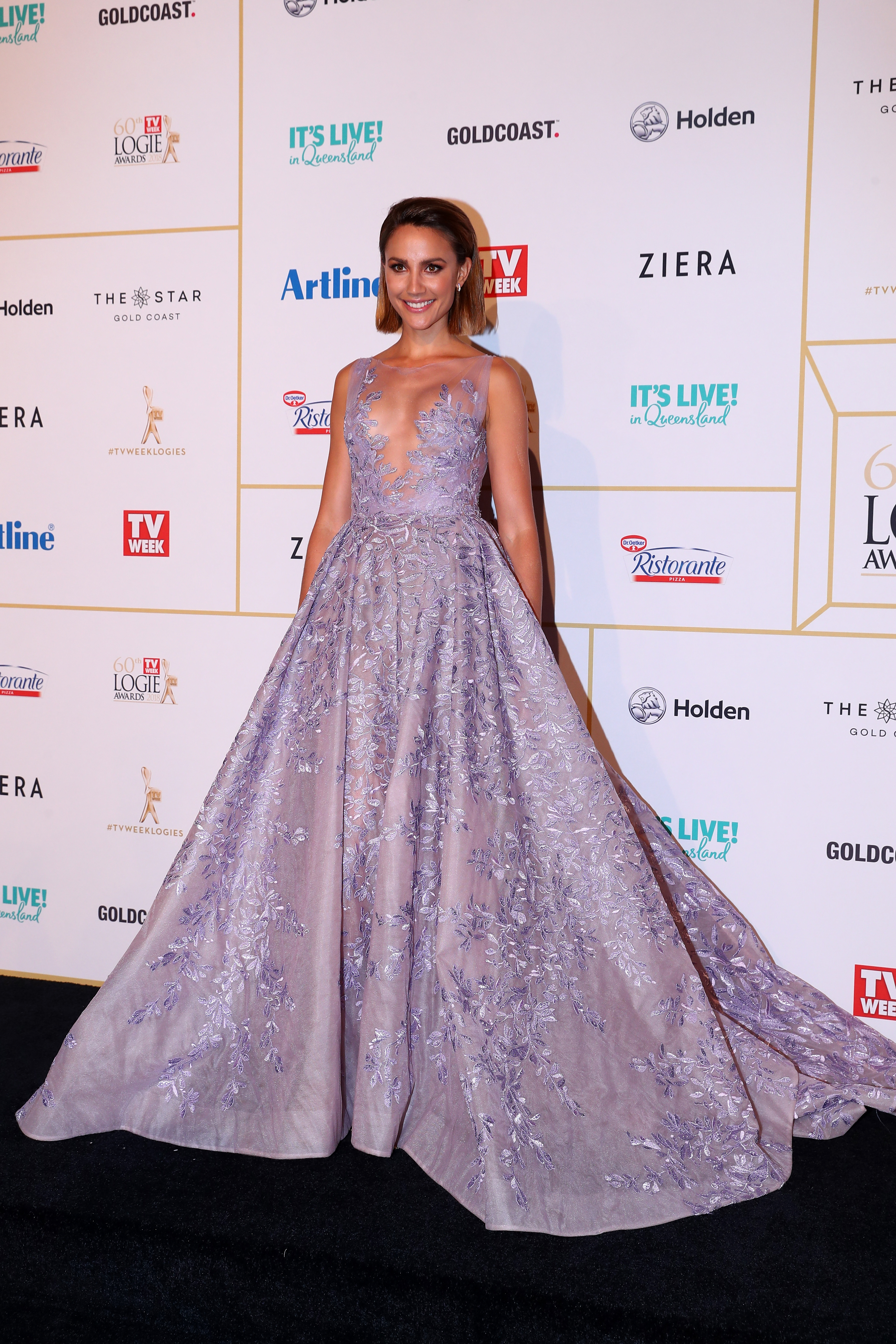 Rachael Finch in Paolo Sebastian at the 2018 Logie Awards