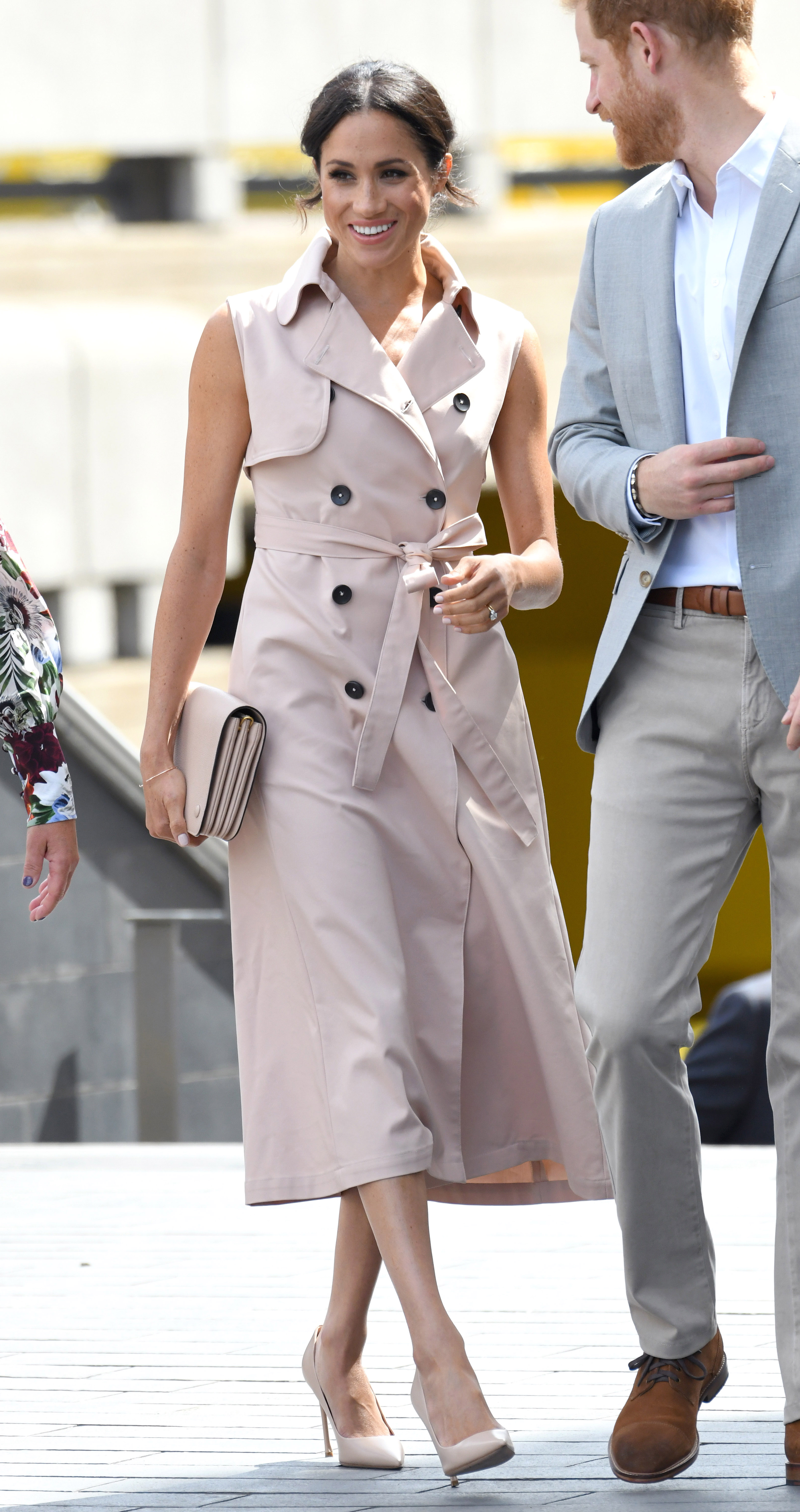 """<p><a href=""""https://style.nine.com.au/2018/07/12/09/29/meghan-markle-ireland-outfits-designers-givenchy"""" target=""""_blank"""" title=""""Meghan Markle"""" draggable=""""false"""">Meghan Markle</a> has certainly been busy with royal outings this month.</p> <p>From Prince Louis christening and her two-day visit to Dublin, to her<a href=""""https://style.nine.com.au/2018/07/15/20/20/meghan-markle-emma-watson-wimbledon"""" target=""""_blank"""" title="""" Wimbledonouting """" draggable=""""false""""> Wimbledon outing </a>with sister in law <a href=""""https://style.nine.com.au/2018/07/16/13/17/kate-middleton-stylish-wimbledon-outfits"""" target=""""_blank"""" title=""""Kate Middleton"""" draggable=""""false"""">Kate Middleton</a>, the newlywed has nailed it in the style stakes on every occasion.</p> <p>Her latest outing is no different.</p> <p>The former actress stepped out overnight to the Nelson Mandela Centenary Exhibitionwith husband Prince Harry at the Southbank Centre in London, wearing a sleeveless trench dress from Canadian ready-to-wear label, NONIE.</p> <p>The blush-coloured dress featured bold black buttons, a structured collar and a loose sash tied at the waist. She complimented her look with a matching pink Mulberry clutch, nude pumps, and wore her nails the same shade of blush as her dress.</p> <p>Nina Kharey, founder and creative director of NONIE, told <em>People</em> that she was thrilled to see the <em>Suits</em> star in her design.</p> <p>""""Seeing Meghan Markle wear theNONIE Trench Dresstoday with such elegance and grace is beyond exciting!"""" she gushed. """"Her continuous support of Canadian brands is remarkable, and it is a true honor to be the first Canadian based ready-to-wear designer she has worn since her wedding earlier this year.""""</p> <p>The $1,118 dress wasn't a new purchase from the 36 year-old. Markle brought the dress from the brand's Spring/Summer 2018 collection back in 2017 while still living in Toronto.</p> <p>Markle's latest look is one in a long line of sartorial stand-outs from the stylish royal. Clic"""