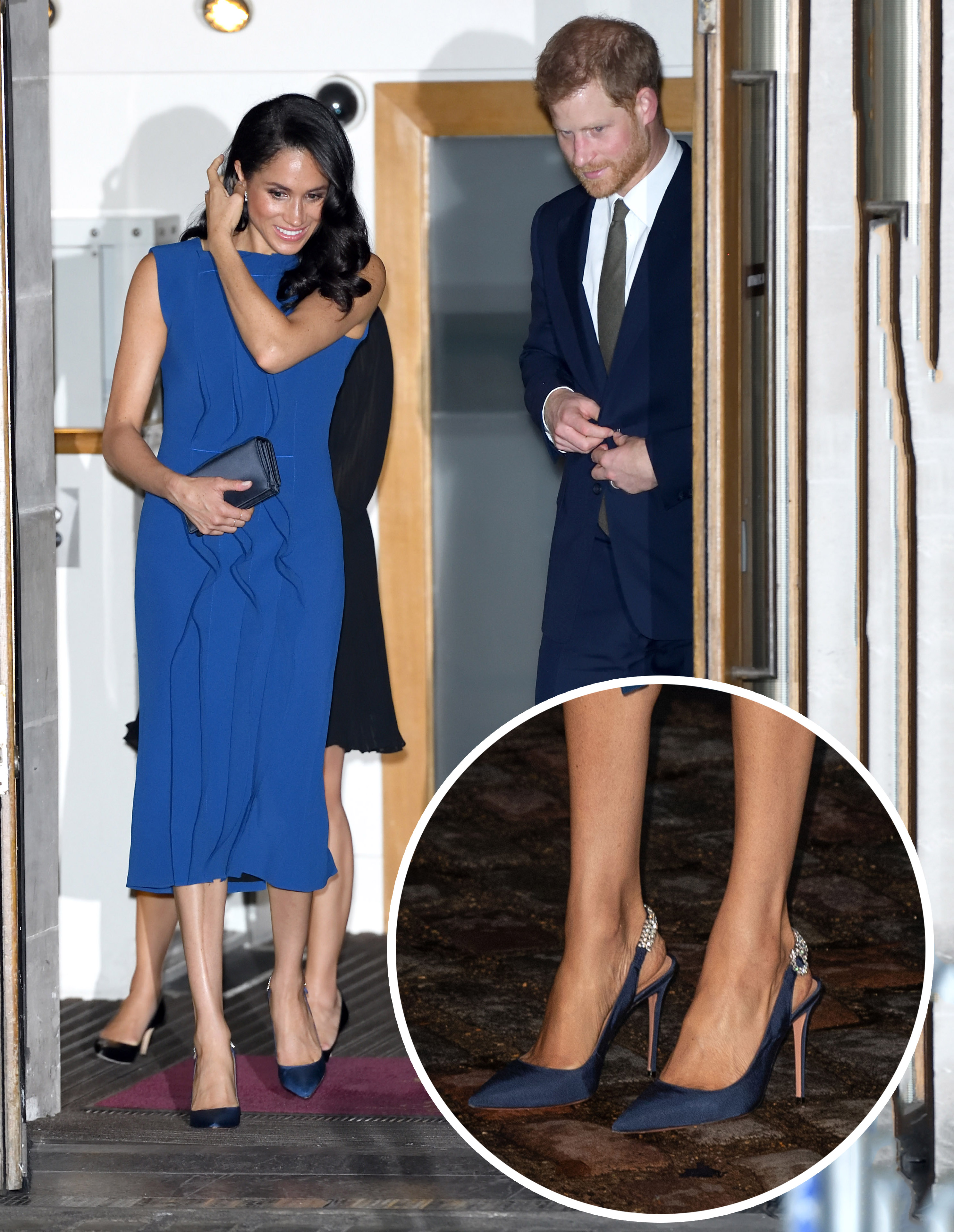"<p>When <a href=""https://style.nine.com.au/2018/09/06/15/22/style-fashion-vanity-fair-best-dressed-list-meghan-markle"" target=""_blank"" title=""Meghan Markle"" draggable=""false"">Meghan Markle</a> arrived on the Royal scene, thanks to her budding romance with Prince Harry in 2016, it was her cool aesthetic and effortless <a href=""https://style.nine.com.au/2018/09/05/13/20/style-fashion-royals-princess-diana-meghan-markle"" target=""_blank"" title=""approach to fashion"" draggable=""false"">approach to fashion</a> that set tongues wagging amongst the style set.<br /> <br /> Now, since her new role as the Duchess of Sussex, Markle has proved that an official title hasn't changed her modern take on <a href=""https://style.nine.com.au/2018/08/13/11/40/style-fashion-royals-meghan-markle-belts"" target=""_blank"" title=""royal dressing"" draggable=""false"">royal dressing</a>.</p> <p>With a very dapper Prince Harry by her side, Markle stepped out overnight for the 100 Days to Peace gala, marking the centenary of the end of the First World War.</p> <p>Markle lifted the style stakes yet again, arriving in a royal blue sleeveless midi dress by Jason Wu. This time however, it was the 37 year-old's accessories that were the real show-stoppers. </p> <p>The <em>Suits</em> star paired the frock with stunning blue satin pointed-slingbacks with jewel embellishments that look like something from the pages of a bridal magazine. The swoon-worthy heels are from her favourite go-to shoe designer, Aquazzura, the shoe style becoming somewhat of a signature look for Markle, rarely seen without pointed stiletto heels. The former actress complimented her look with a midnight blue clutch from Dior.<br /> <br /> Markle has honed her style to polished perfection with the help of designers such as Clare Waight Keller, Stella McCartney and Roland Mouret.<br /> <br /> Click through to see Meghan Markle's most standout looks since becoming a Duchess - all looks complete with her signature heels.</p>"