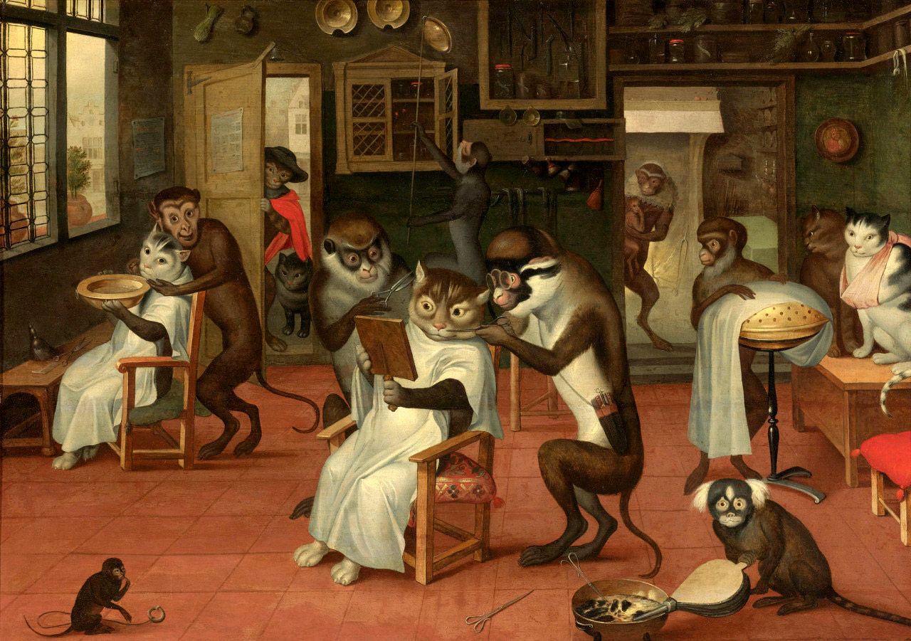 Barber Shop with Monkeys and Cats, Abraham Teniers (1629-1670)