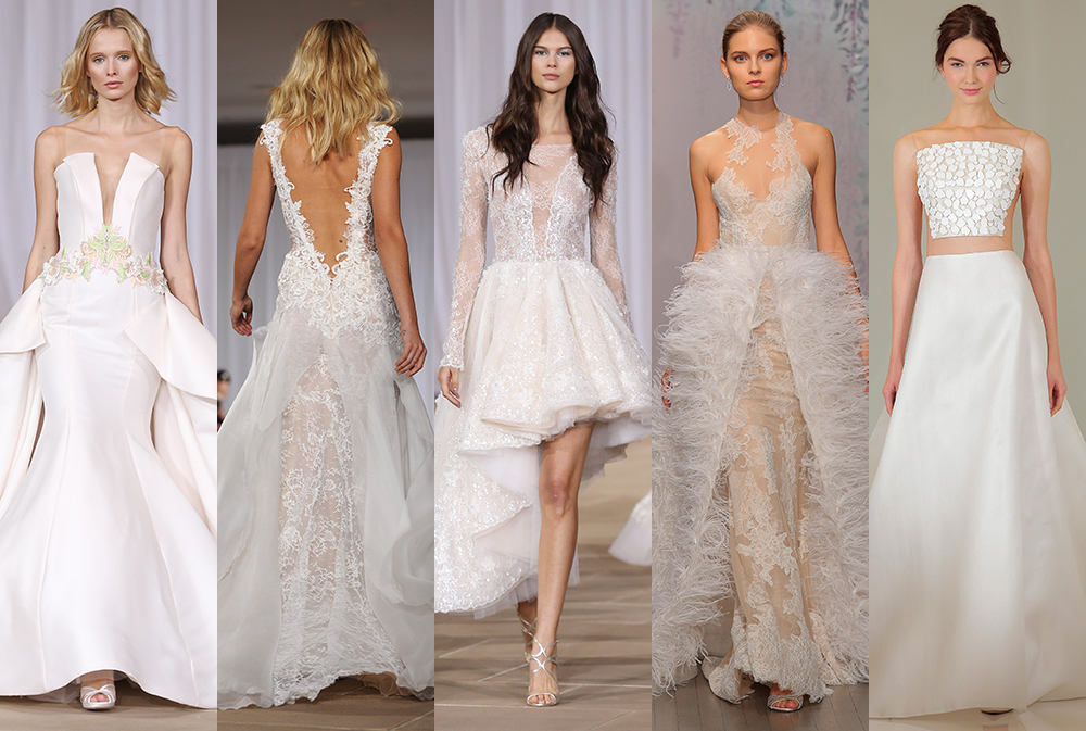 From dramatic backs for the runway bride to daring sheer gowns for the brave, here are the five biggest trends from New York's Bridal Fashion Week.