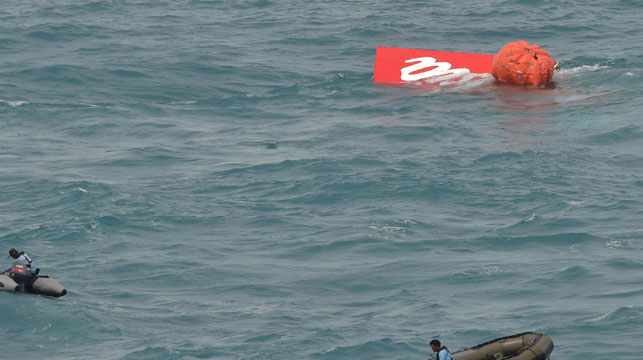 Crews float the jet's tail on the surface before recovery. (AFP)