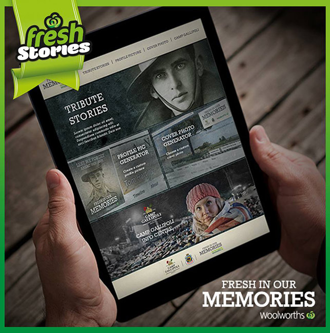 "A Woolworths advertisement for the ""Fresh in Our Memories"" website. (Supplied)"
