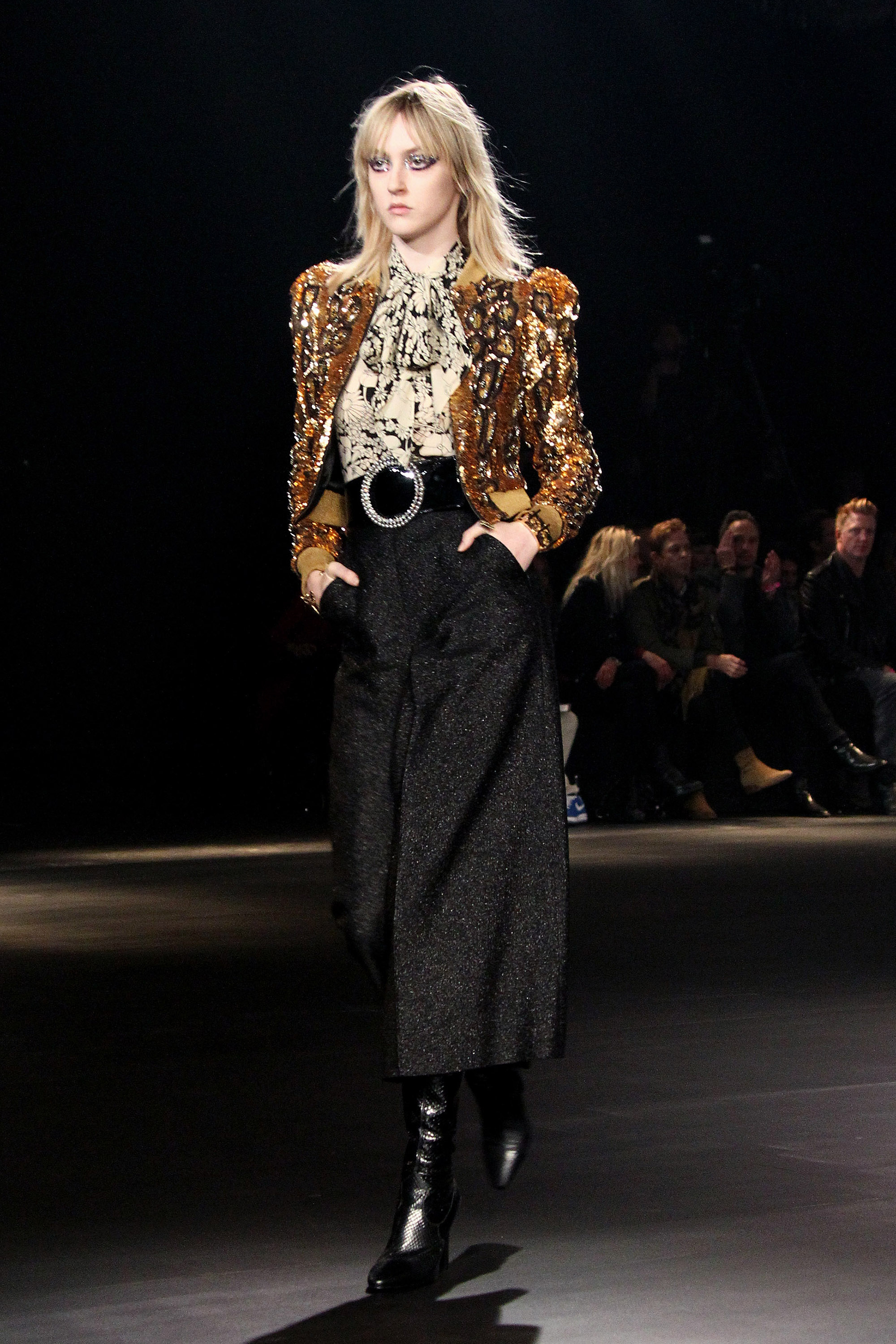 """<p>Saint Laurent showcased a collection inspired by Californian culture and Hedi Slimane's love of music at Hollywood's iconic Palladium overnight. The runway also boasted a <a href=""""http://honey.ninemsn.com.au/2016/02/11/15/44/fashion-and-music-worlds-collide-at-saint-laurent-at-the-palladium"""" target=""""_blank"""">star-studded front row of musicians</a> including Justin Bieber, Lady Gaga, Lenny Kravtiz and Courtney Love.</p><p></p>"""