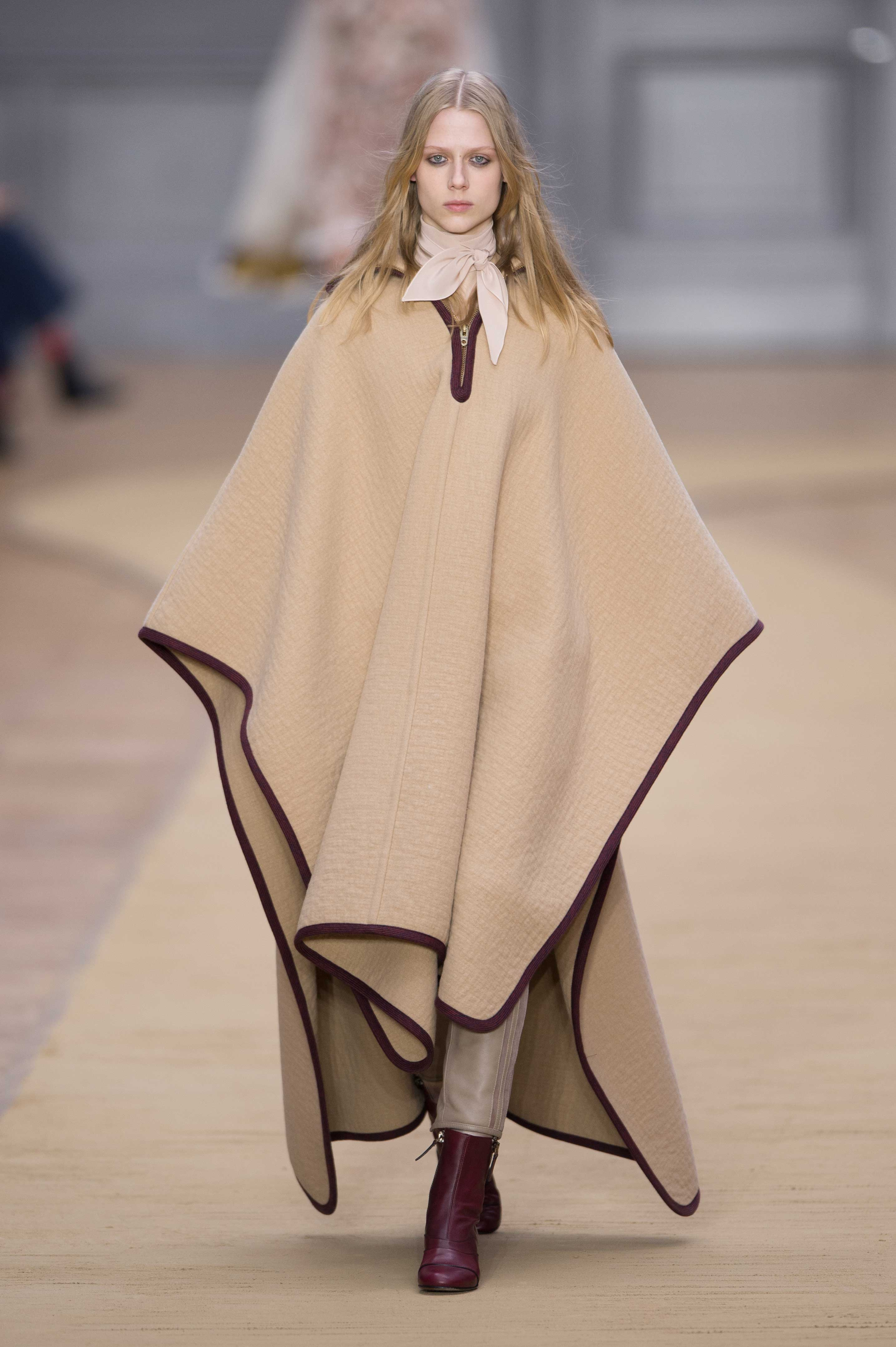 """For autumn/winter 16, Chloé designer Clare Waight Keller was inspired by Anne-France Dautheville, a French woman who travelled through Europe and the Middle East on a motorbike in the seventies. """"She had this incredibly inspiring attitude, her sense of daring,"""" Waight Keller told WWD. """"She was chic and boyish at the same time. I found something really charismatic about her."""""""