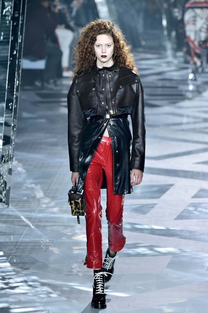 """From moto biker leathers, racing stripes and baseball shirts to varsity jackets, sportswear references were rife at the Louis Vuitton show. Taking inspiration from the virtual world, Ghesquière explained, """"we had an idea of this trip, of a woman who could be a digital heroine, like Tomb Raider, when she discovers an archaeological site."""" Happily, the wearability of this collection means it translates beautifully into reality."""