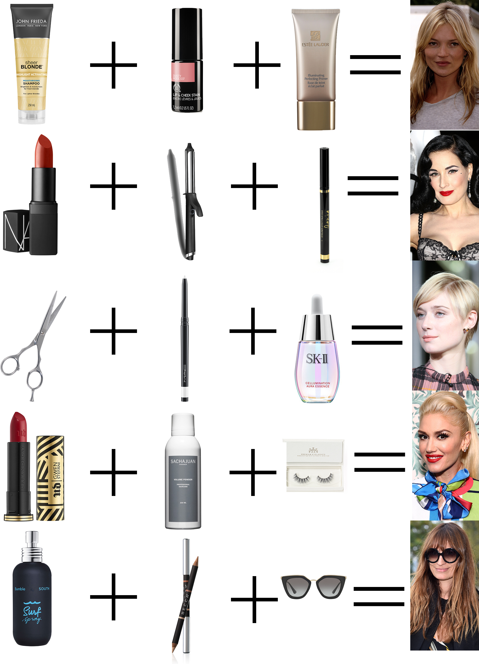 Who said maths and beauty have nothing in common? Here, we                                                                 break down the formulas behind five celebrities' signature beauty looks -                                                                 guaranteed to work every time.