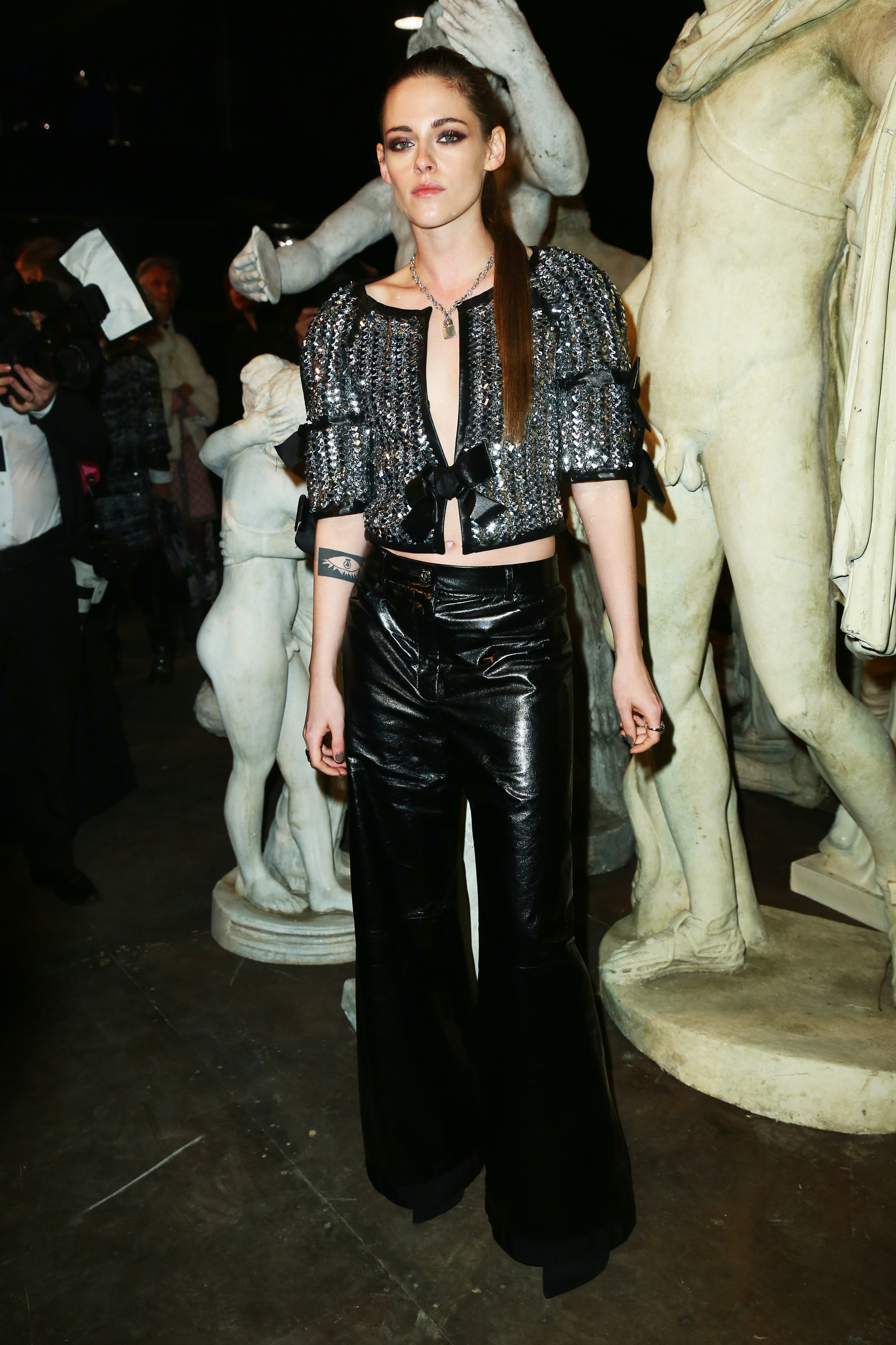 """For Chanel's Metiers d'Art 2015/16 fashion show the style set jetted to Rome's famous Cinecittà's Studio 5 where Karl Lagerfeld re-created a Parisian street, complete with a Metro, Boulangerie and a movie theatre, aptly called Cinema Le Paris. The evening started with a viewing of Chanel's <a href=""""http://honey.ninemsn.com.au/2015/12/02/07/54/kristen-stewart-chanel-film"""" target=""""_blank"""">new short<em>Once and Forever</em> starring Kristen Stewart and Geraldine Chaplin</a>, before heading into  a runway presentation. When it came to high-powered guests, Stewart and Chaplin stole the show, followed closely by Rooney Mara in a pale pink dress. Click through to see what everyone wore."""