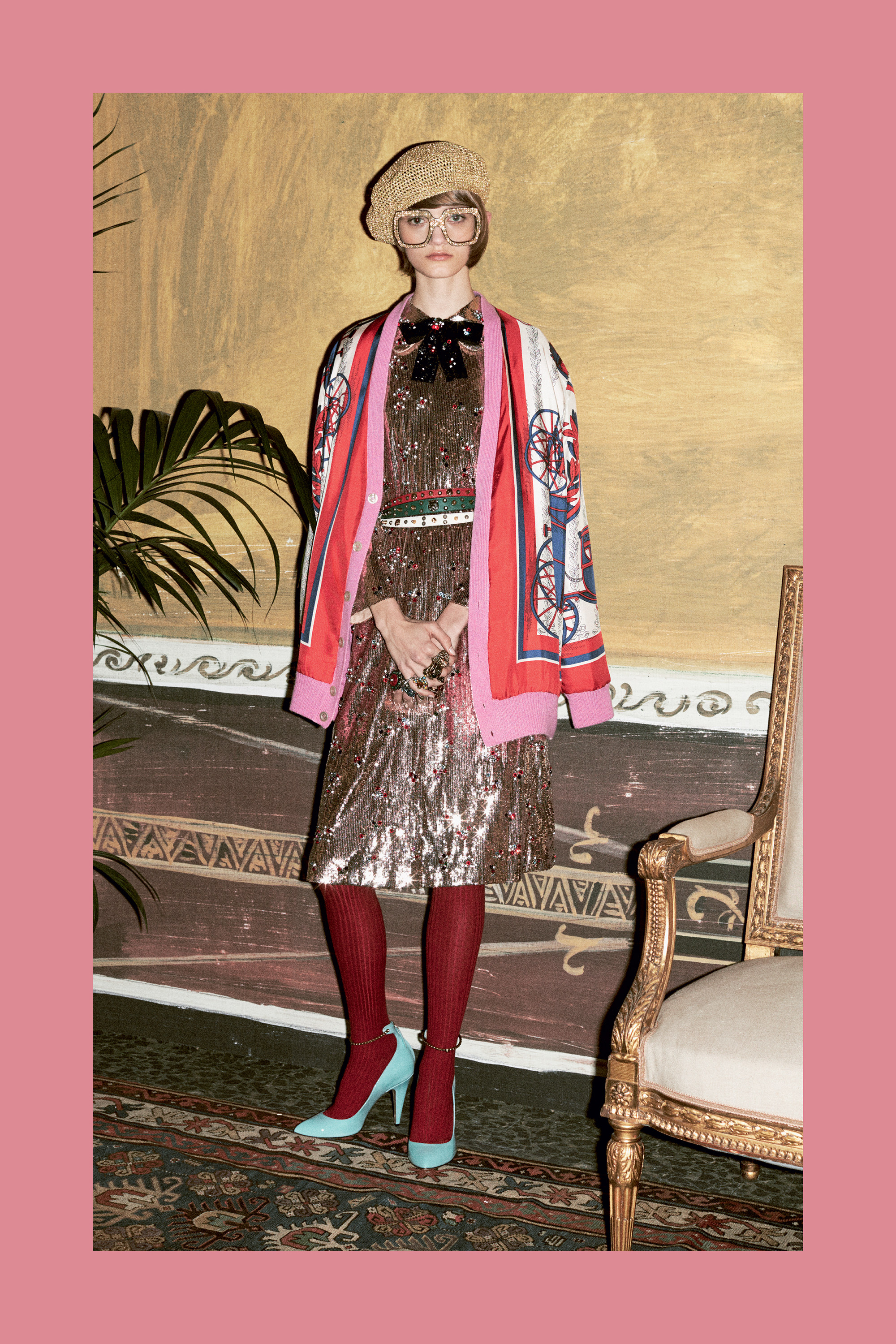"For pre-fall 2016, Gucci creative director Alessandro Michele certainly didn't diverge from the ""old-as-new"" sentiment at the crux his first three collections for the fashion house. You don't have to be a fortune teller to know that in a not-too-distant future, the metallic, printed and embroidered pieces  will sit alongside exaggerated platform heels, an updated Dionysus bag (now with sequinned patches), and anything-but-square eyewear, in wardrobes everywhere. The past is now."