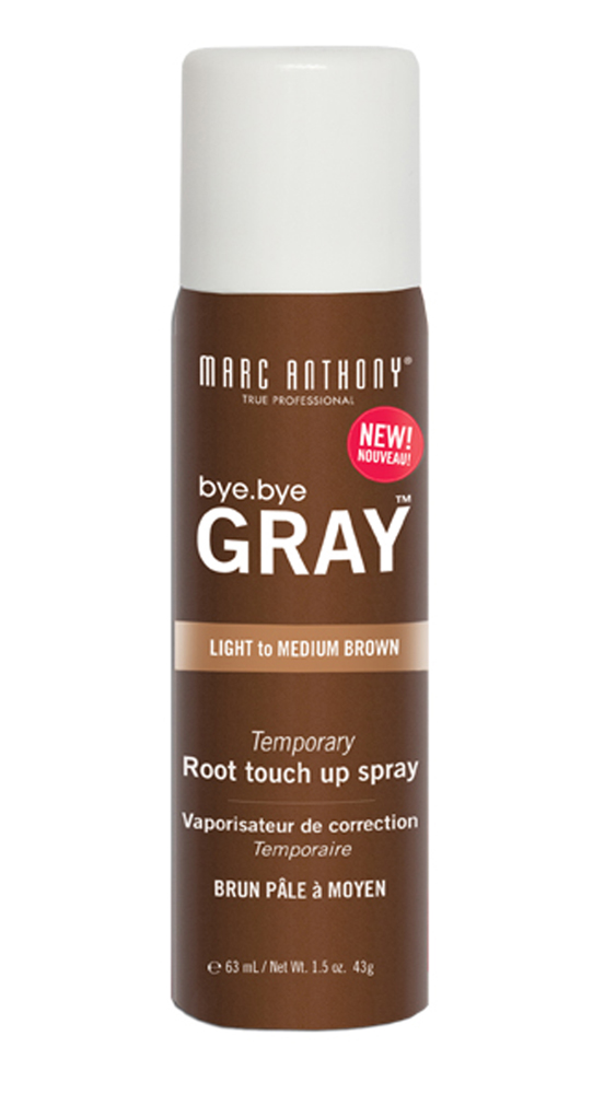 "<p><a href=""http://www.marcanthony.com/products/byebyegray"" target=""_blank"">Bye. Bye. Gray, Root Touch Up Spray, $19.99, Marc Anthony True Professional (available in Light to Medium and Medium to Dark.)</a></p>"