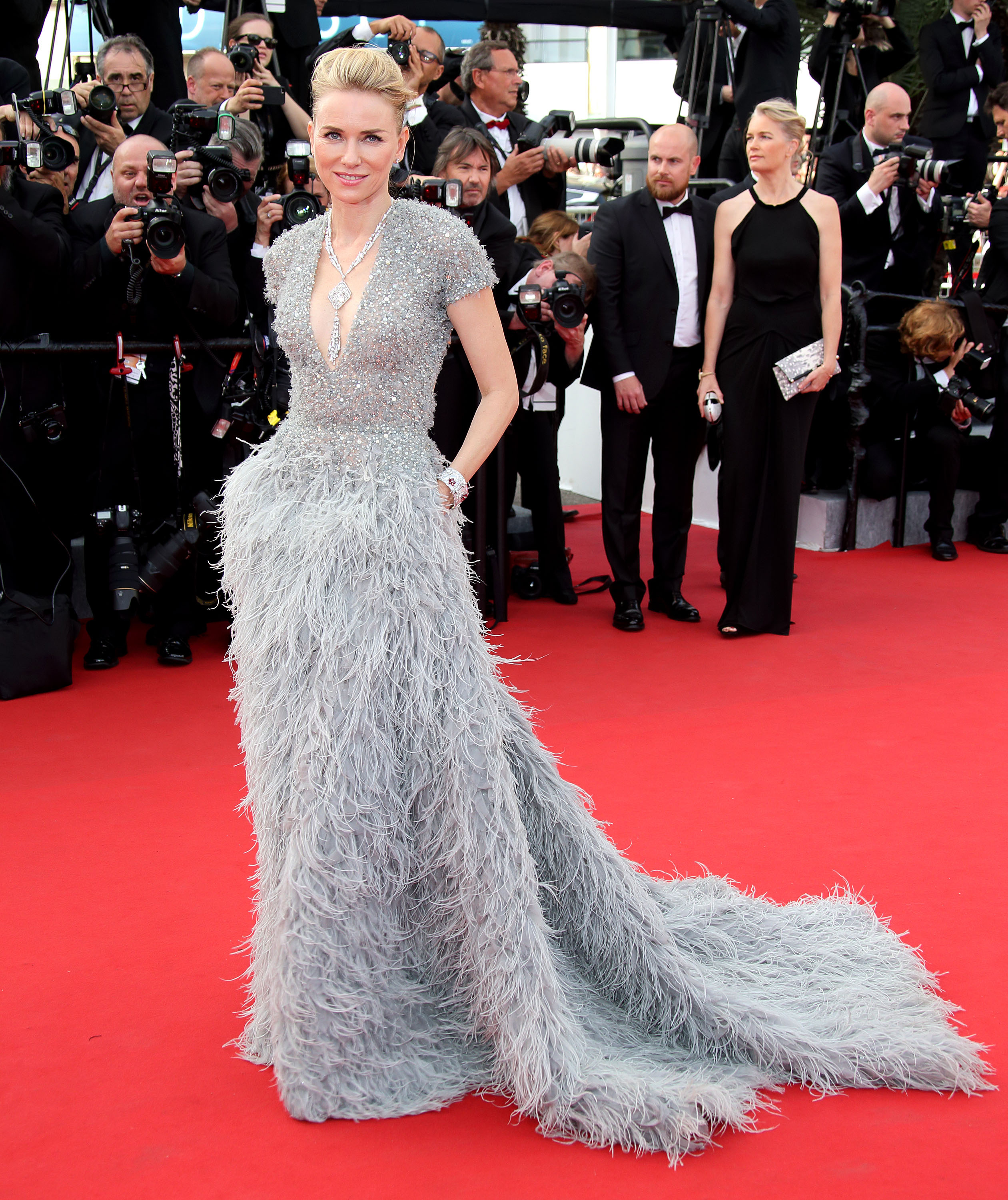 <p>Naomi Watts in Elie Saab and a Bulgari necklace</p>