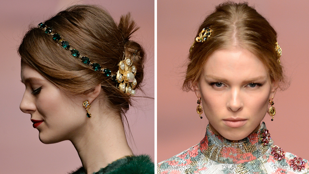 <p>Hair accessories were all over the Fall runways earlier this year with the likes of Dolce & Gabbana, Chanel and Prada all giving this trend a whirl. Trick up your look by adorning your locks with opulent combs, bejewelled headbands and super pretty pins.</p>