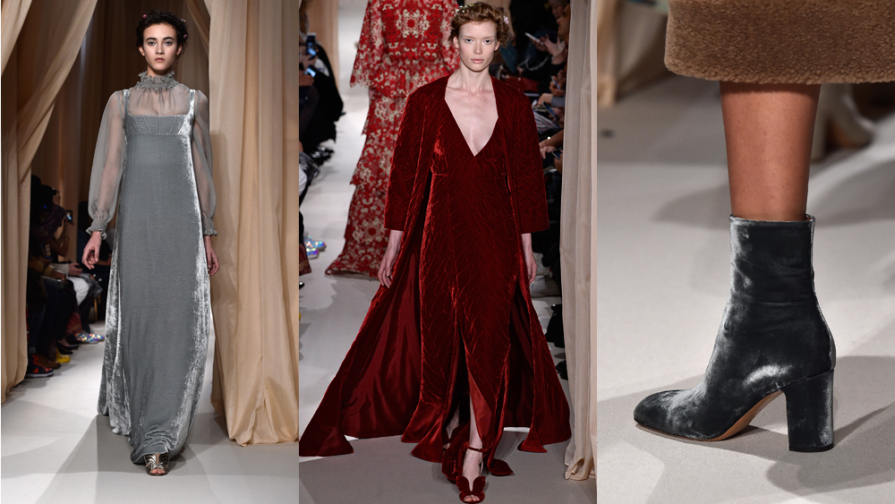 If velvet makes you think of medieval maidens, figure skaters and Willy Wonka, then this season is the time to let go of old prejudices. Thanks to Valentino, Givenchy and Ralph Lauren, the material is going back to its regal roots and adding an elegant feel to runways and red carpets alike. Here, we chart the trend from designer catwalk to front row.   <br><br>