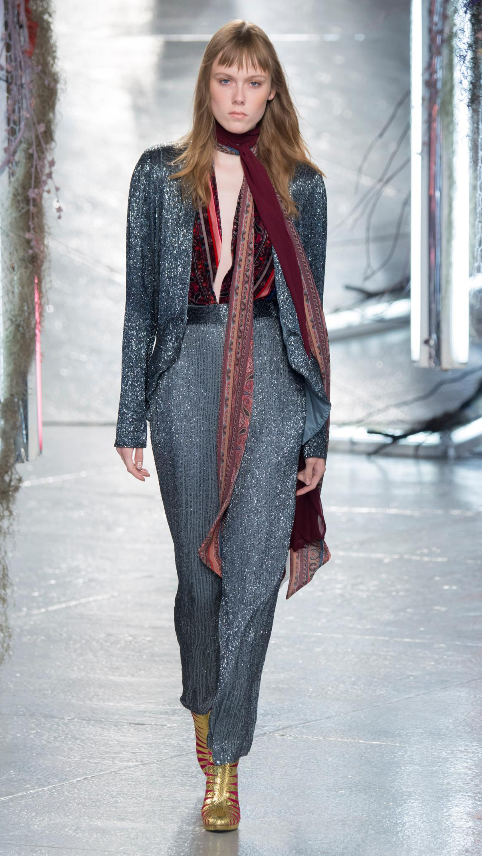 At Rodarte, designers Kate and Laura Mulleavy lent their strain of theatrical design to SS16 with lashings of lace and velvet topped with sequins and shearling. The result? A vibe that was at times reminiscent of Studio 54 in its heyday, at times old-worldly. Click through to fall under the spell.