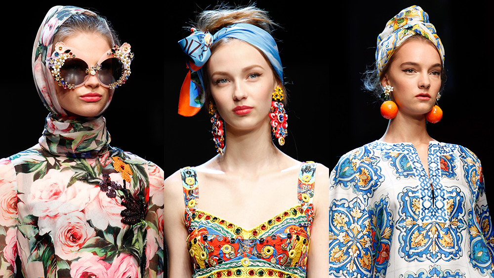 "The inspiration behind Dolce & Gabbana's Milan Fashion Week collection was ""the joy of Italian holiday—Amalfi, Portofino, Venezia!"" said the show's make-up artist, Pat McGrath. To bring to this vision to life, McGrath textured the models' hair, then wrapped the flyaway locks in colourful headbands and scarves. The result was old Hollywood glamour meets <em>Roman Holiday</em>. With the accessories becoming a runway highlight, we decided to take a look at all the times head scarves have stolen the show."