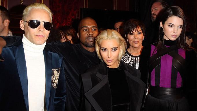Jared Leto, Kanye West, Kim Kardashian, Kris Jenner and Kendall Jenner.