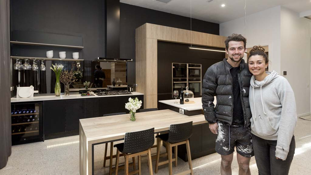 Black Kitchen will and karlie's 'incredible' jet black kitchen | the block | 9now