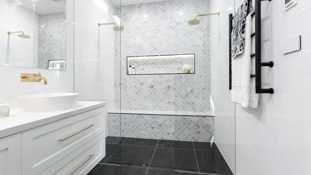 This bathroom features tiles from beaumont tiles for more for Bathroom designs the block