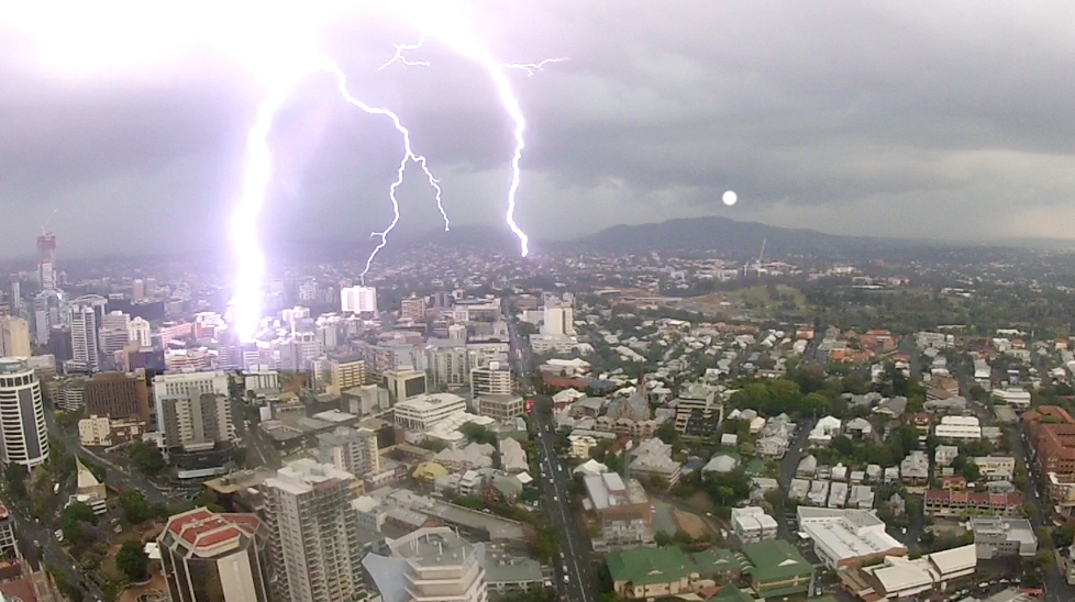 Lightning strikes over Brisbane