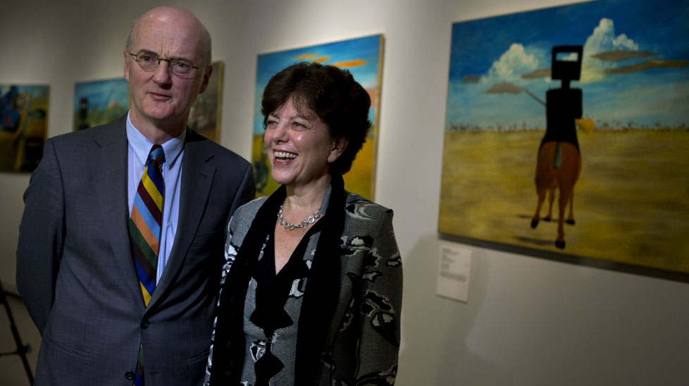 Ambassador of Ireland, Noel White, and NGA Head of Australian Art post-1920, Deborah Hart, stand in front of some of the Ned Kelly series by Sidney Nolan. (All photos AAP)