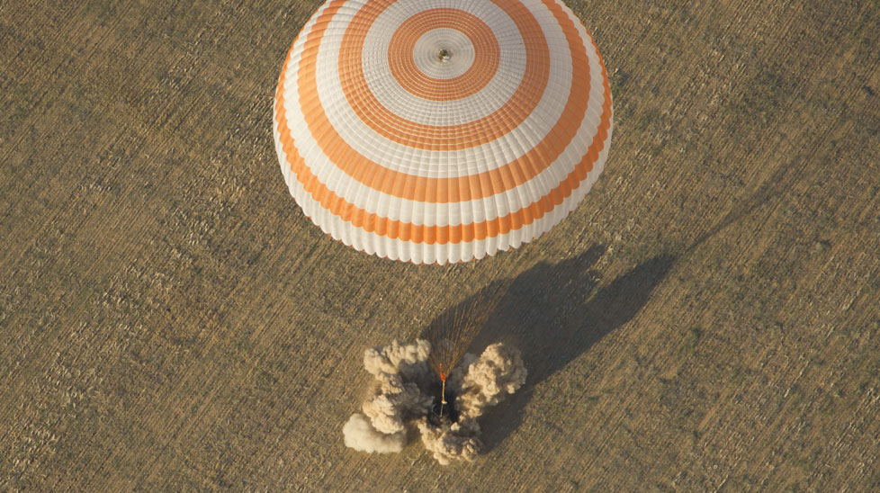 The Soyuz TMA-04M spacecraft is seen as it lands. (AAP)
