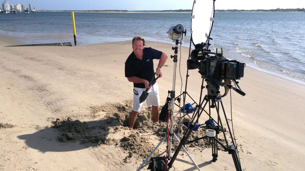 Paul Burt digging himself a ditch so he can get to camera level.