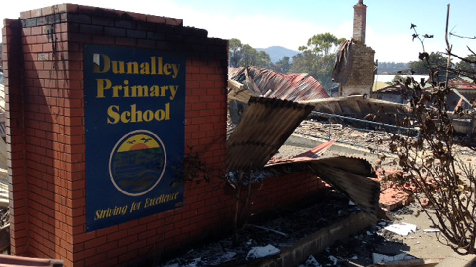 The charred remains of the Dunalley Primary School are left after a bushfire tore through the town. (Jarrod Koh, Nine News)