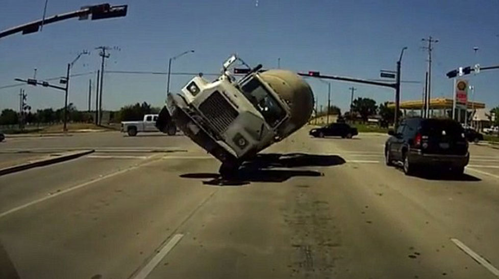 It's the horrifying moment this driver thought he was about to be crushed by an out-of-control cement truck. Click through to see more astonishing crashes.
