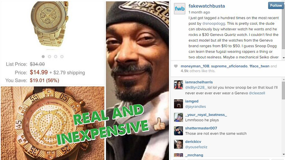 Instagrammer gains huge following busting celebrities wearing fake watches for Watches rappers wear