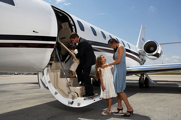 Family on private jet